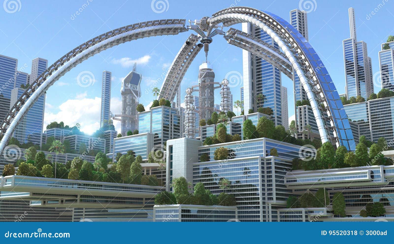 Illustration 3D av en futuristisk stad