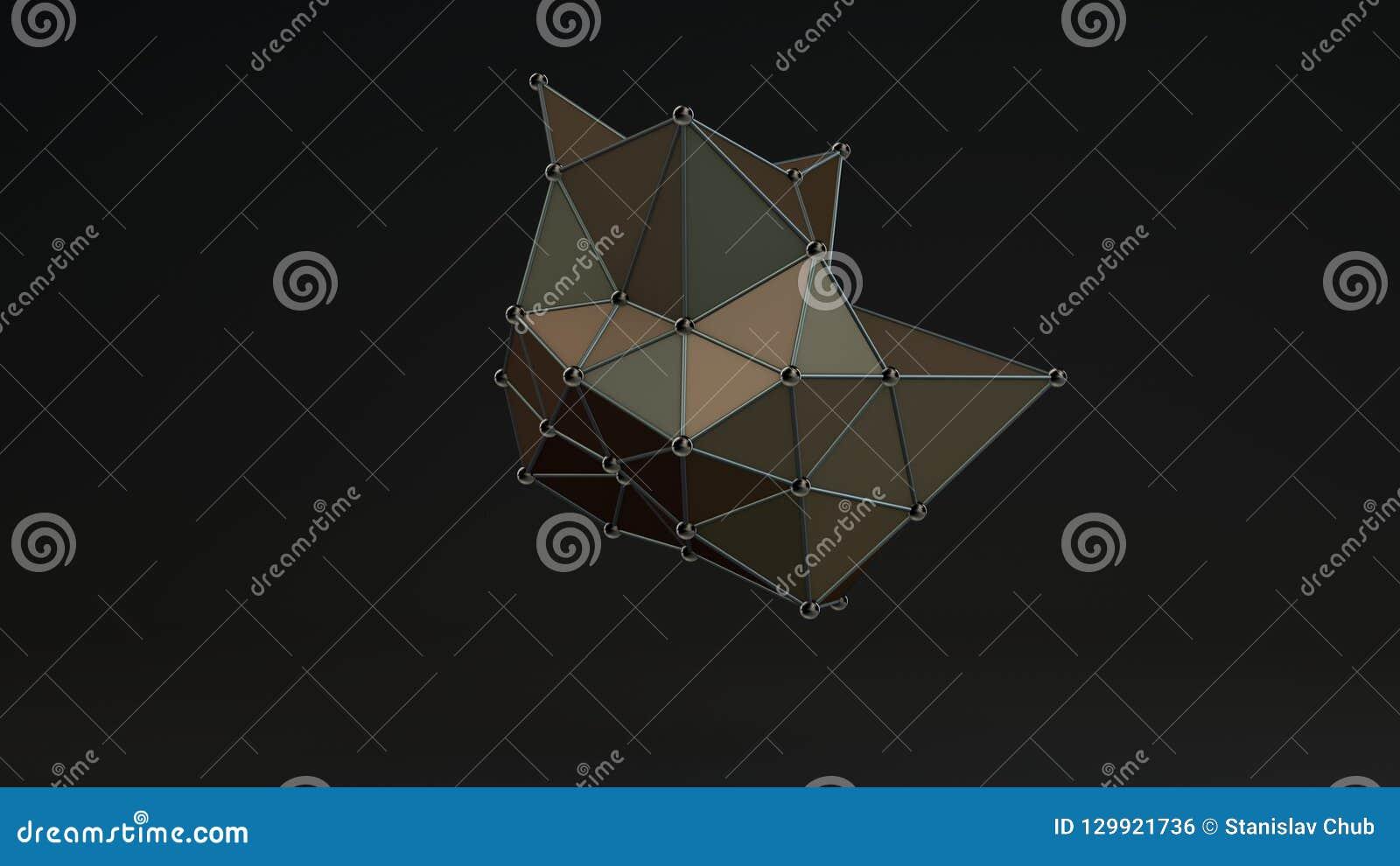 Illustration 3D av en kristall av ojämn form, med skarpa hörn och bollar på hörnen, med ett kristallgaller av atomer 3d