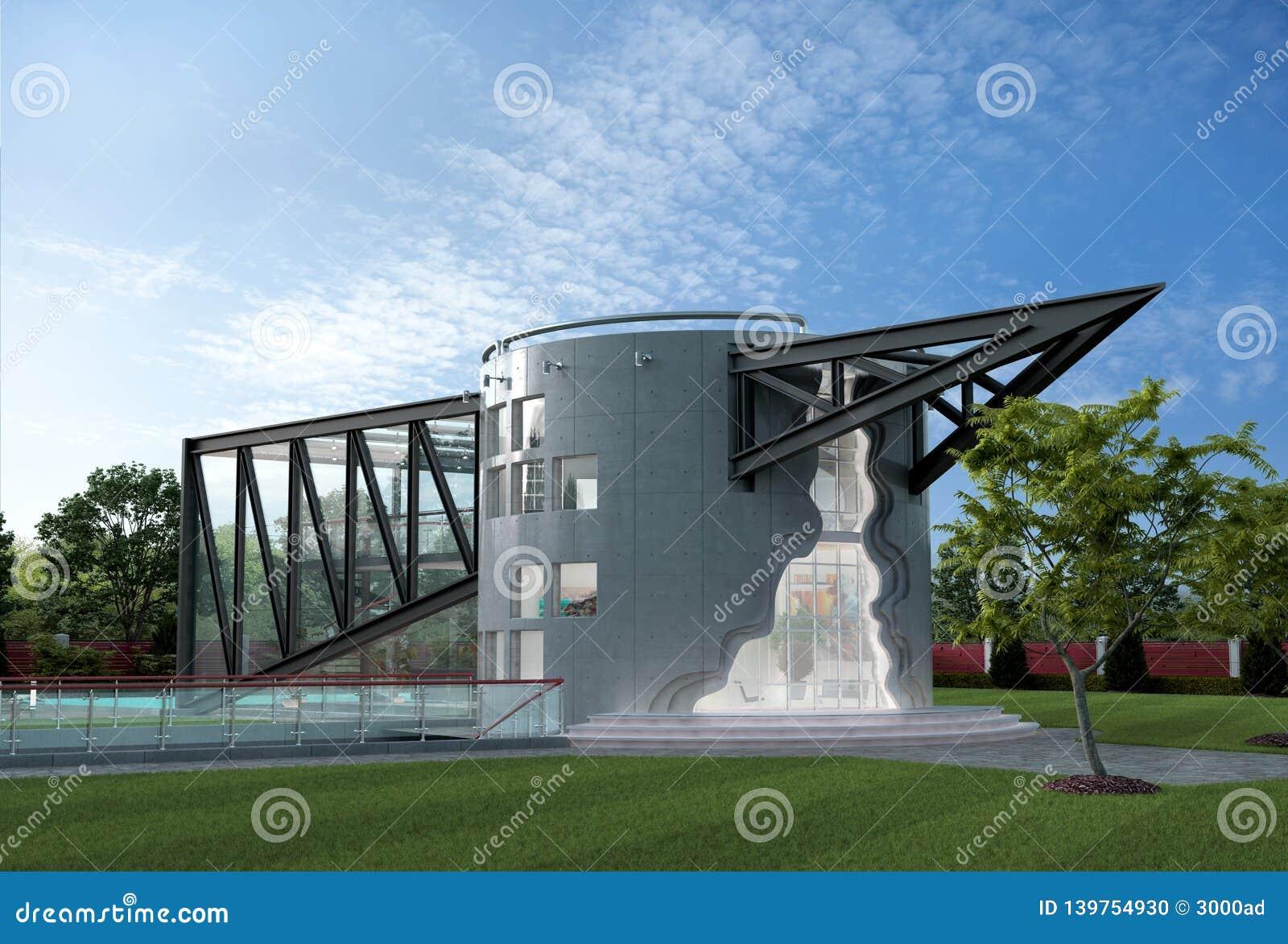 Illustration 3D av ett futuristiskt lyxigt hus