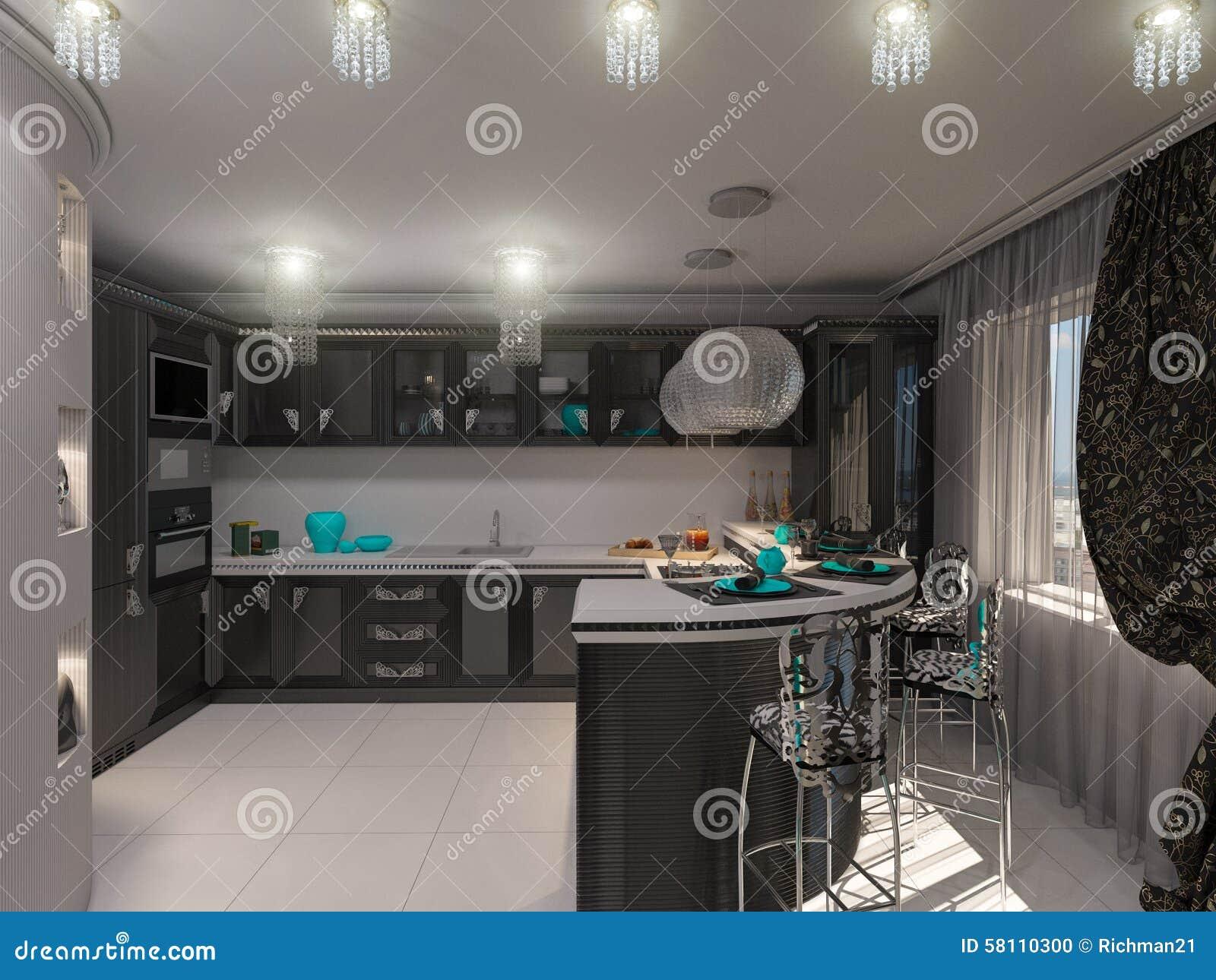 Illustration 3d av ett kök i stil av en art déco stock ...