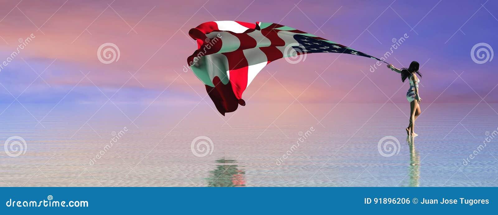 Illustration 3d av flaggan