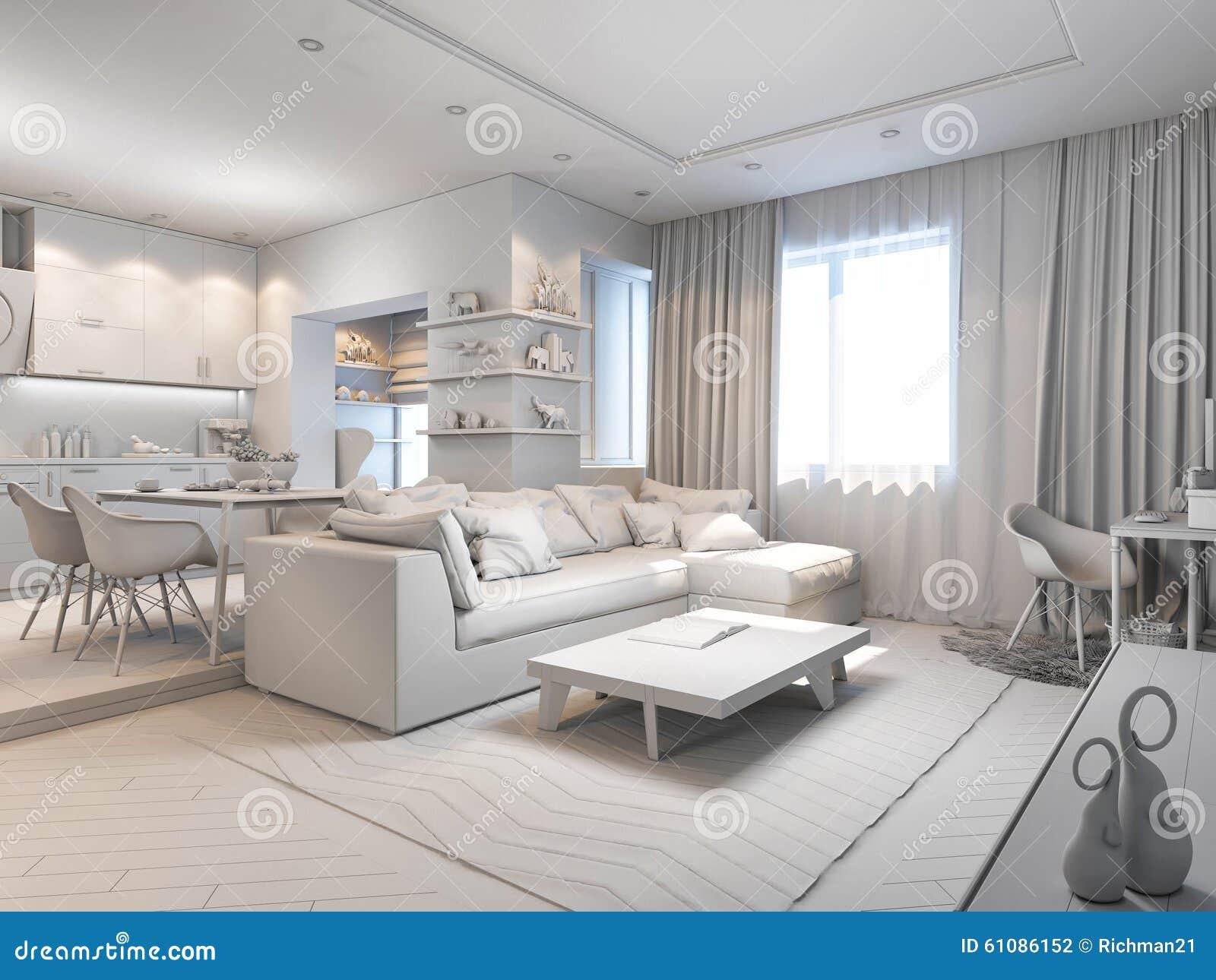 Illustration 3d Av Små Lägenheter Utan Texturer I Vit Färg Stock ...