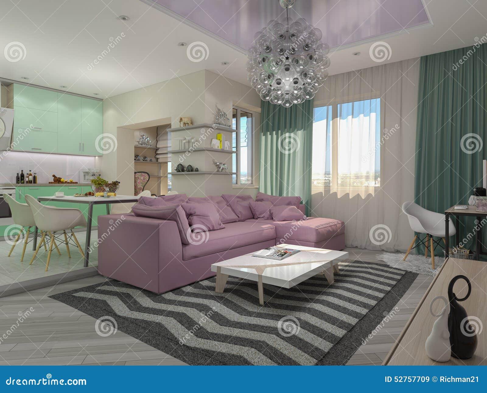 Ljus vardagsrum i vita och pastellfärgade färger arkivfoto   bild ...