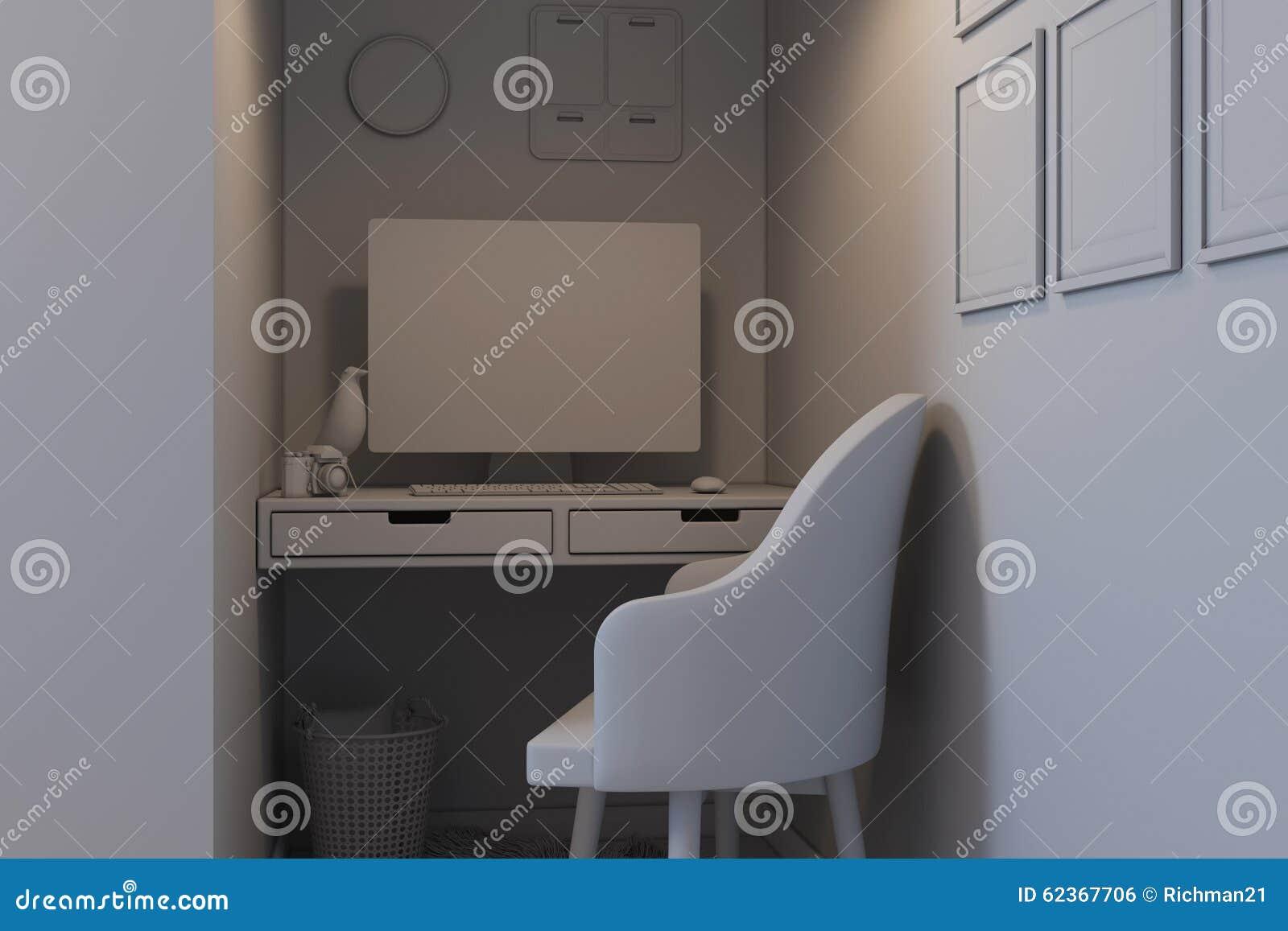 Illustration 3d av sovrum i en skandinavisk stil utan kompisen ...
