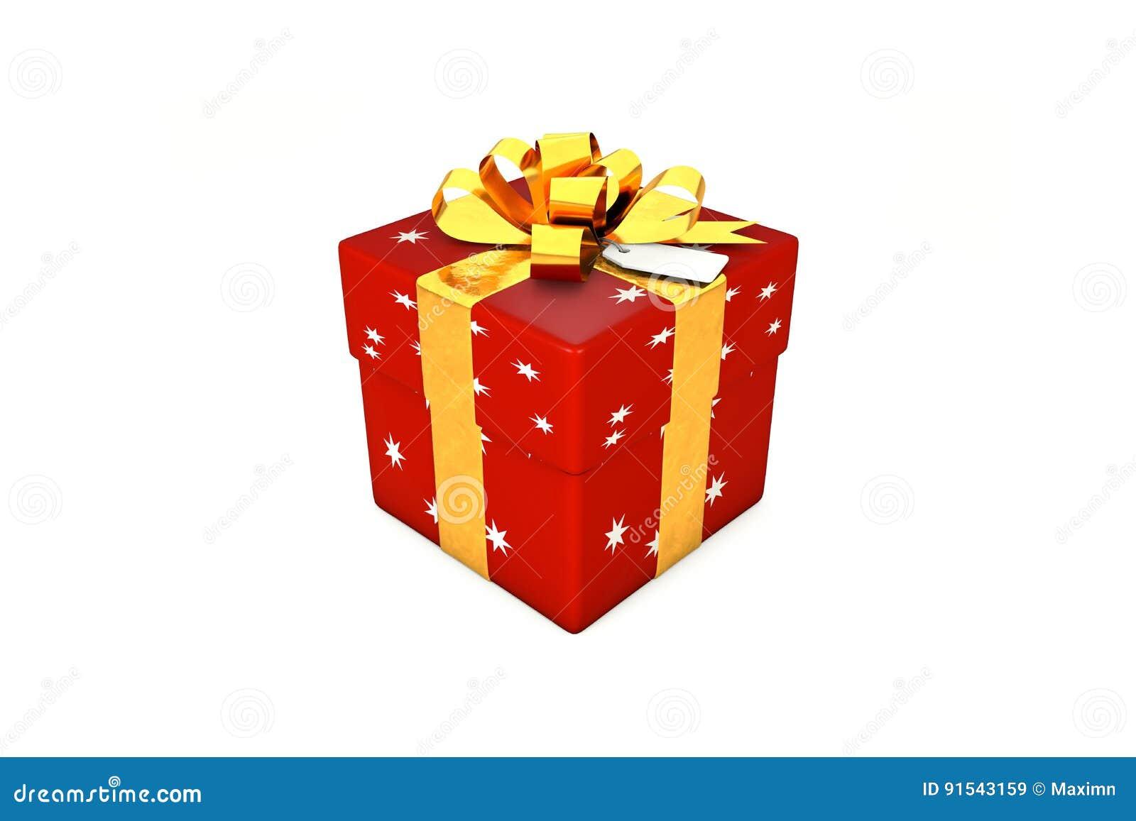 Illustration 3d : boîte-cadeau de Rouge-écarlate avec l étoile, le ruban d or en métal/arc et l étiquette sur un fond blanc d iso