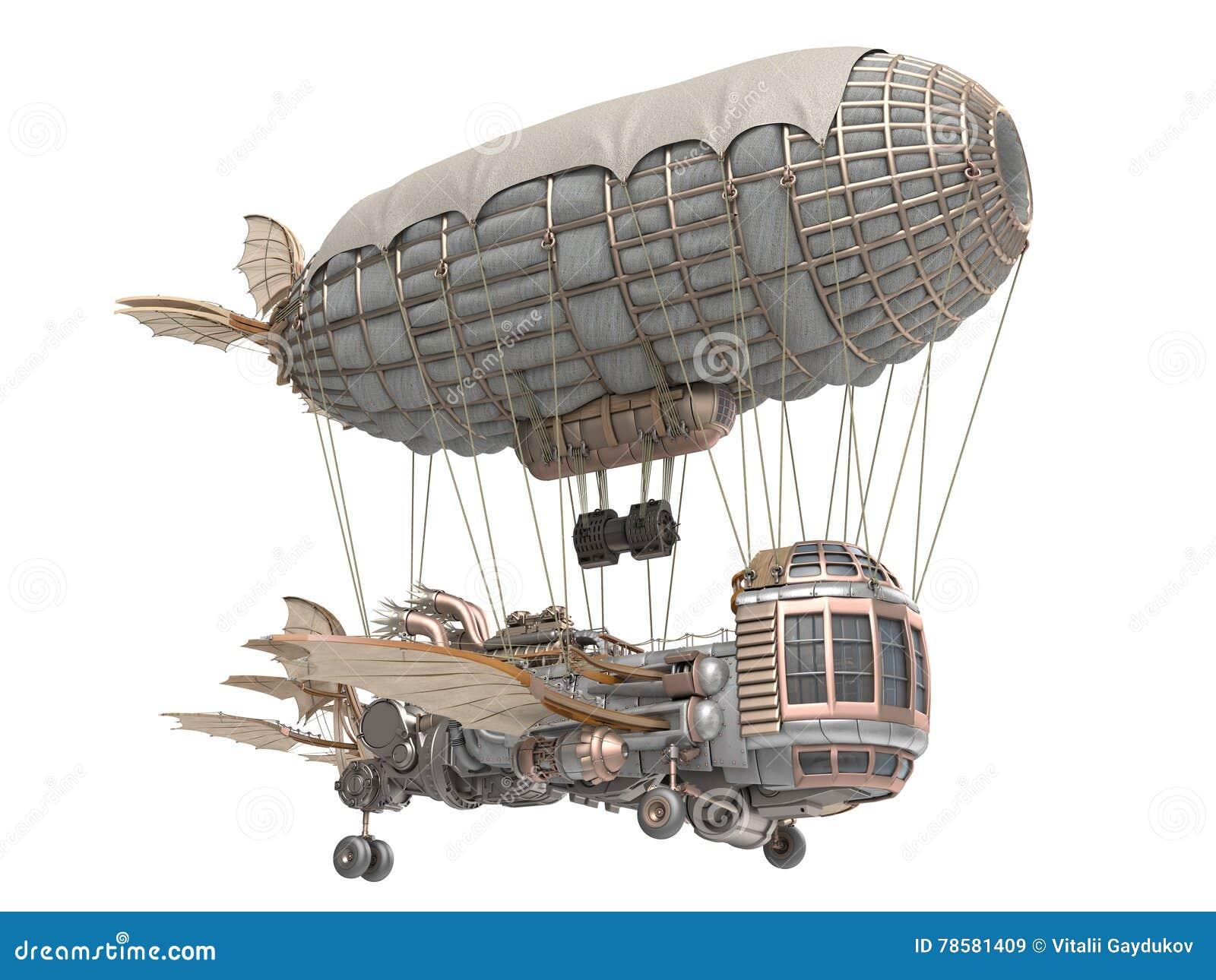 Illustration 3d d un dirigeable d imagination dans le style de steampunk sur le fond blanc d isolement