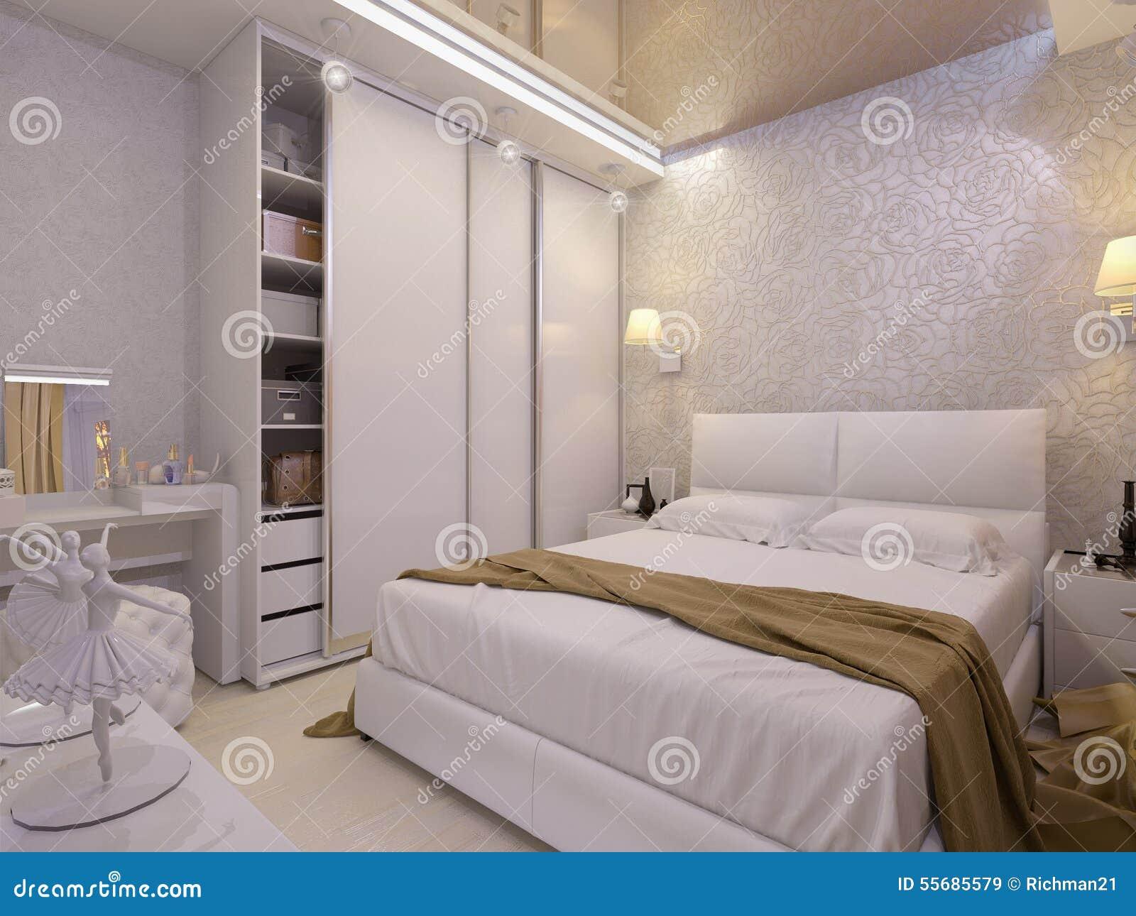 Illustration 3d d 39 une chambre coucher blanche dans le style moderne illustration stock - Les chambre a coucher ...