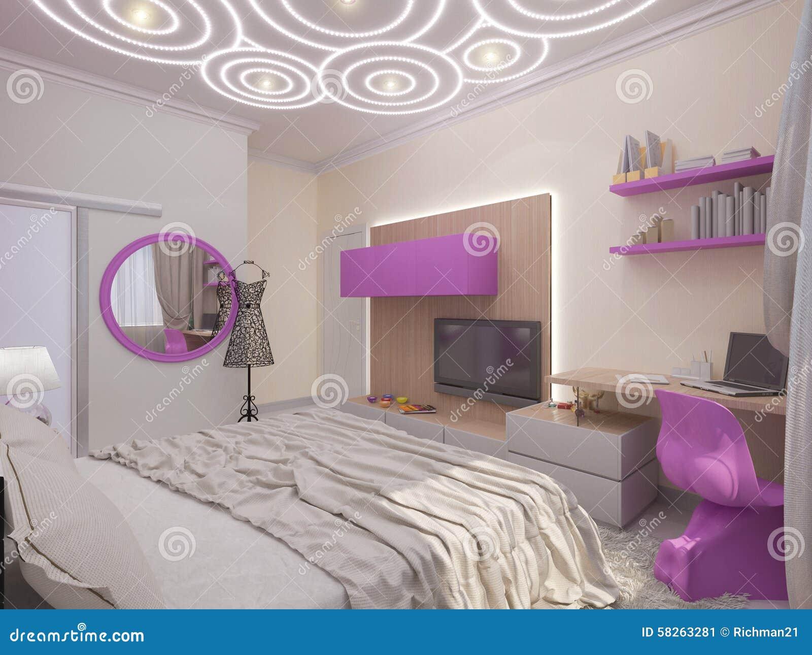 Illustration 3d d 39 une chambre coucher pour la jeune fille illustration stock illustration du - Chambre a coucher pour couple ...