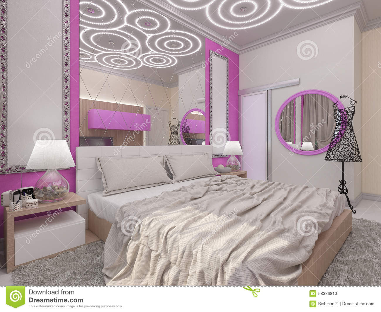 illustration 3d d 39 une chambre coucher pour la jeune fille illustration stock illustration du. Black Bedroom Furniture Sets. Home Design Ideas