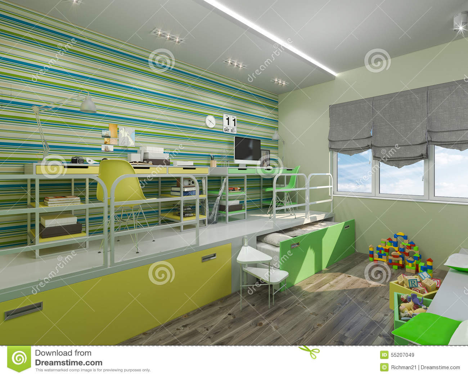 Illustration 3d d'une chambre à coucher pour l'enfant de mêmes ...