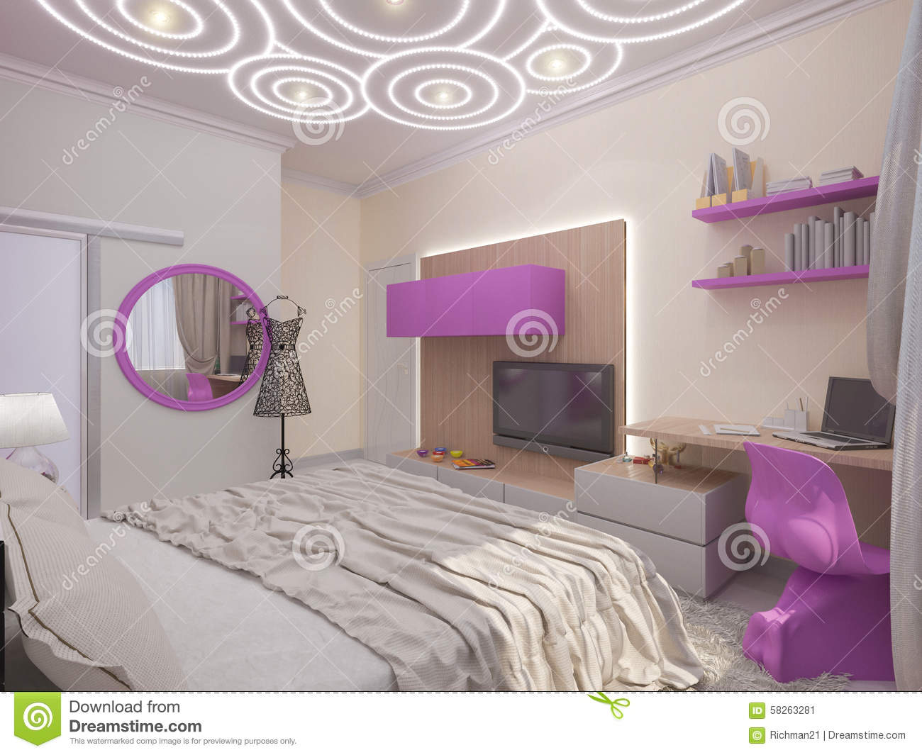 illustration 3d d 39 une chambre coucher pour la jeune fille illustration stock image 58263281. Black Bedroom Furniture Sets. Home Design Ideas