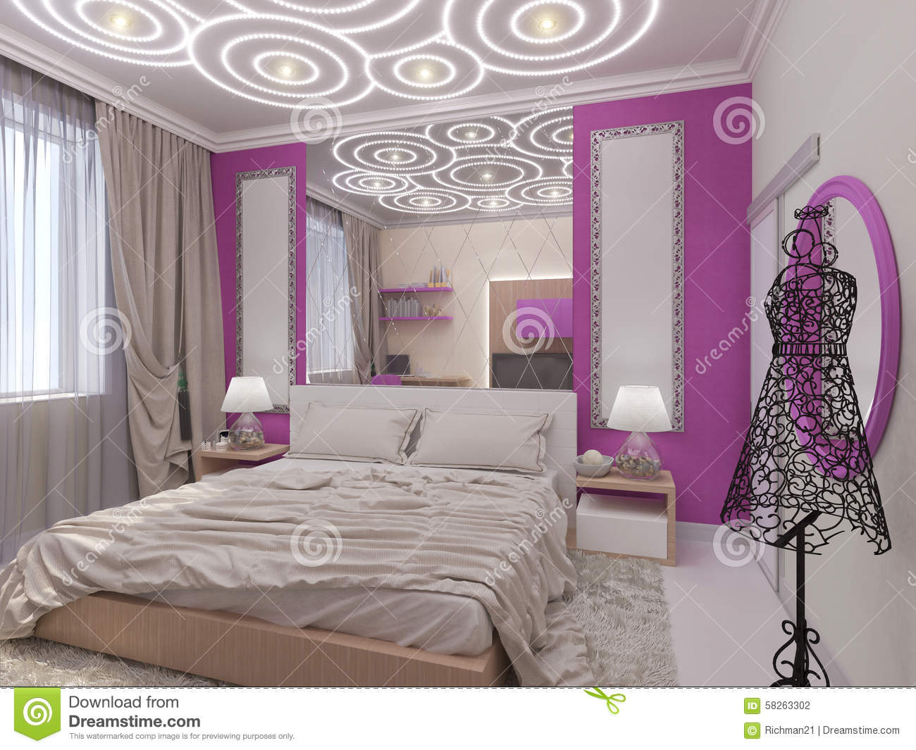 illustration 3d d 39 une chambre coucher pour la jeune. Black Bedroom Furniture Sets. Home Design Ideas