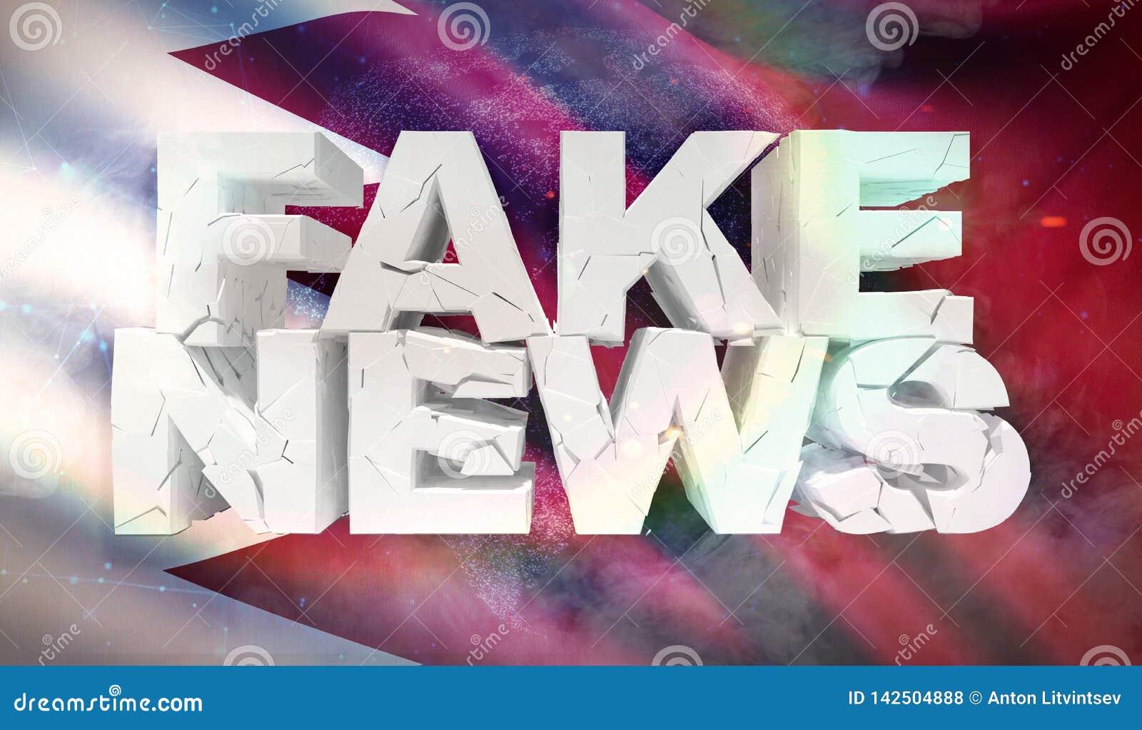 Illustration 3D de faux concept de nouvelles avec le drapeau de fond du Bahrain
