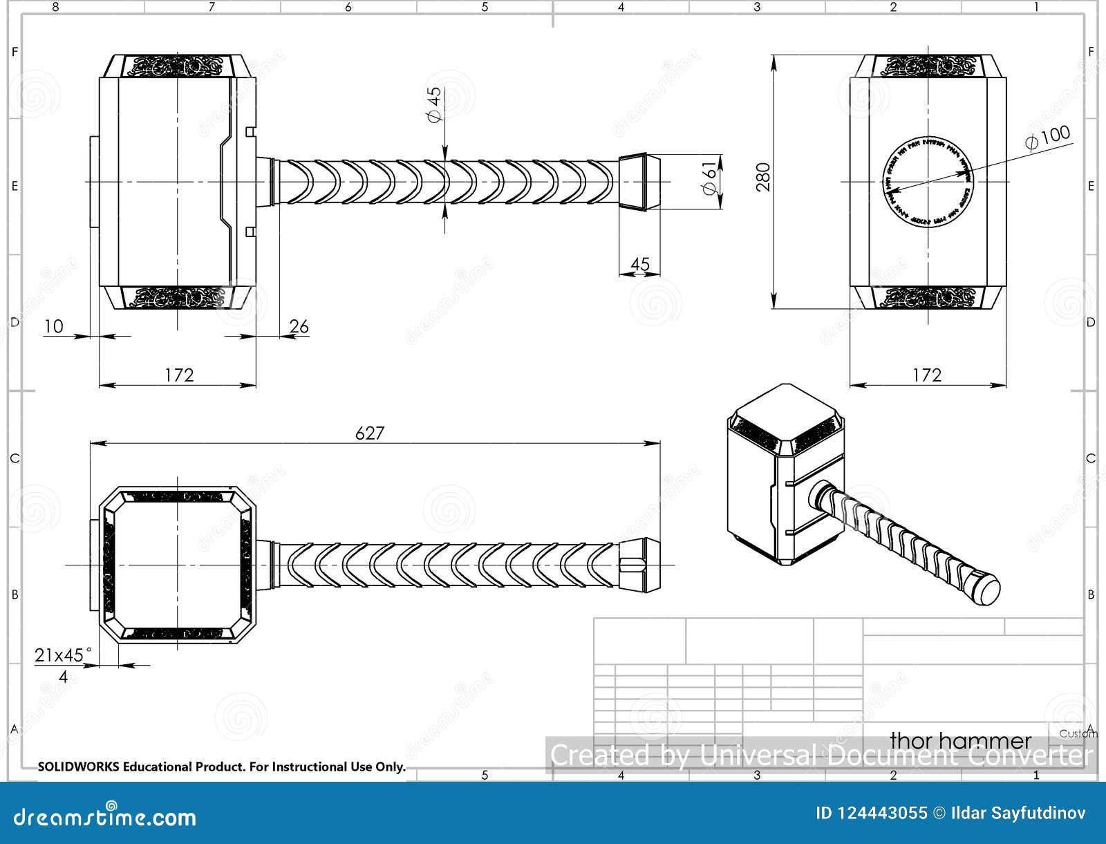 Illustration 3d De Marteau De Thor Illustration Stock