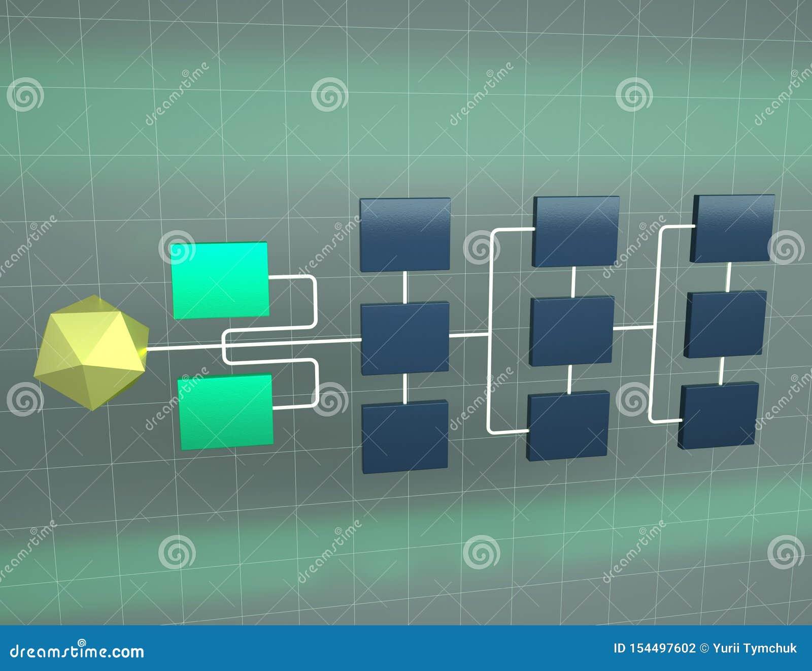 Illustration 3d der Geschäftsnetztopologie Konzept der Hierarchie