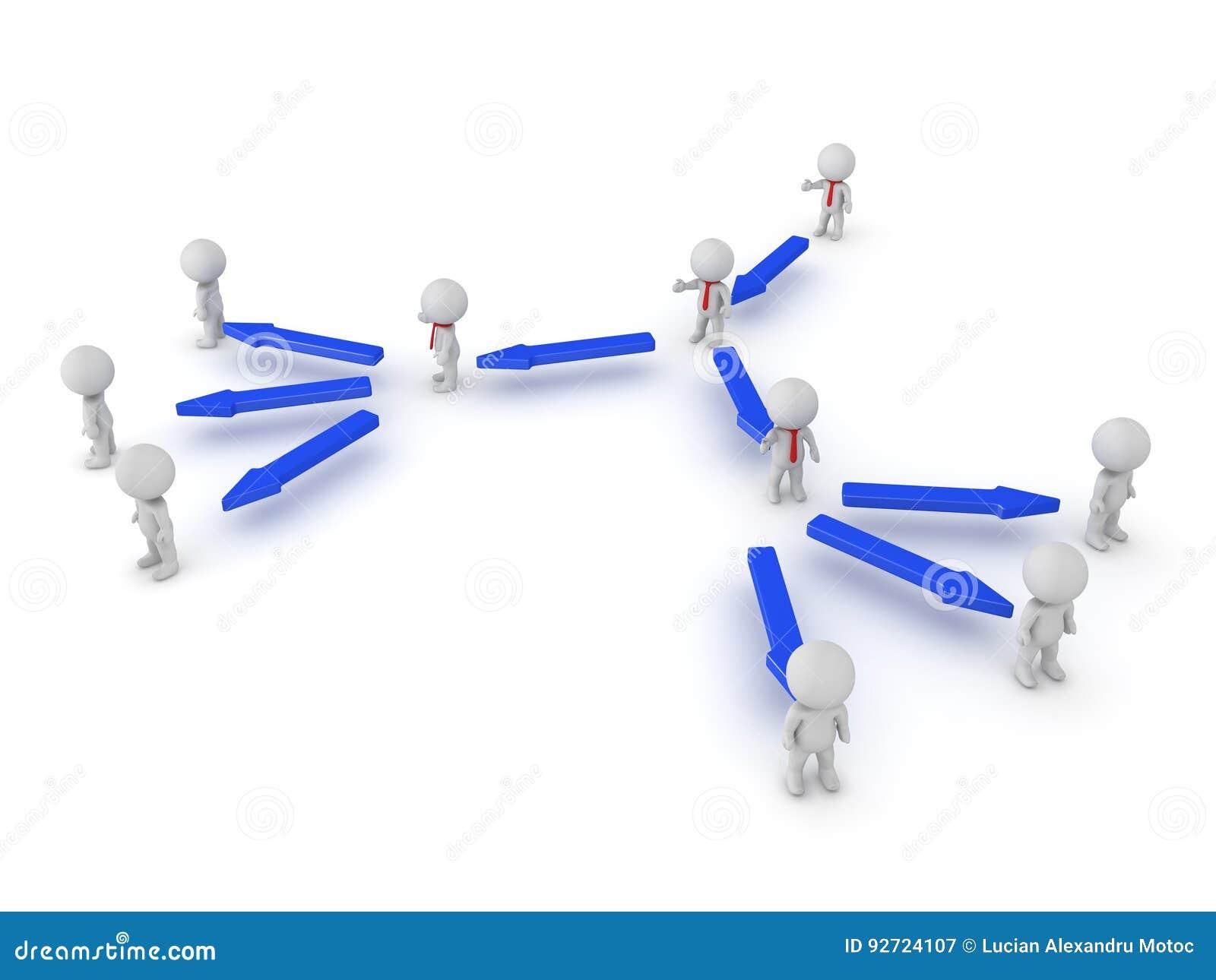 Illustration 3D der Hierarchie in einer Firma