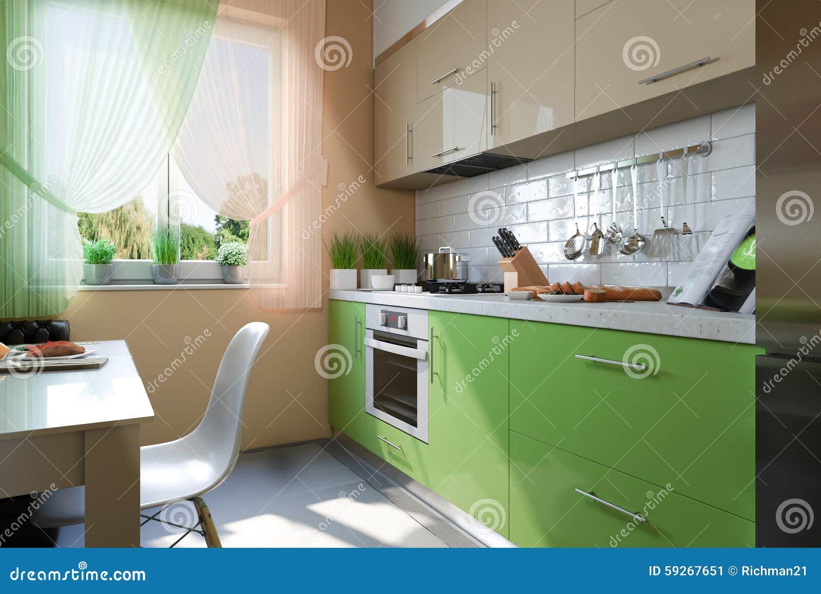 3d Fußboden Küche ~ Illustration d der küche mit den beige und grünen fassaden stock