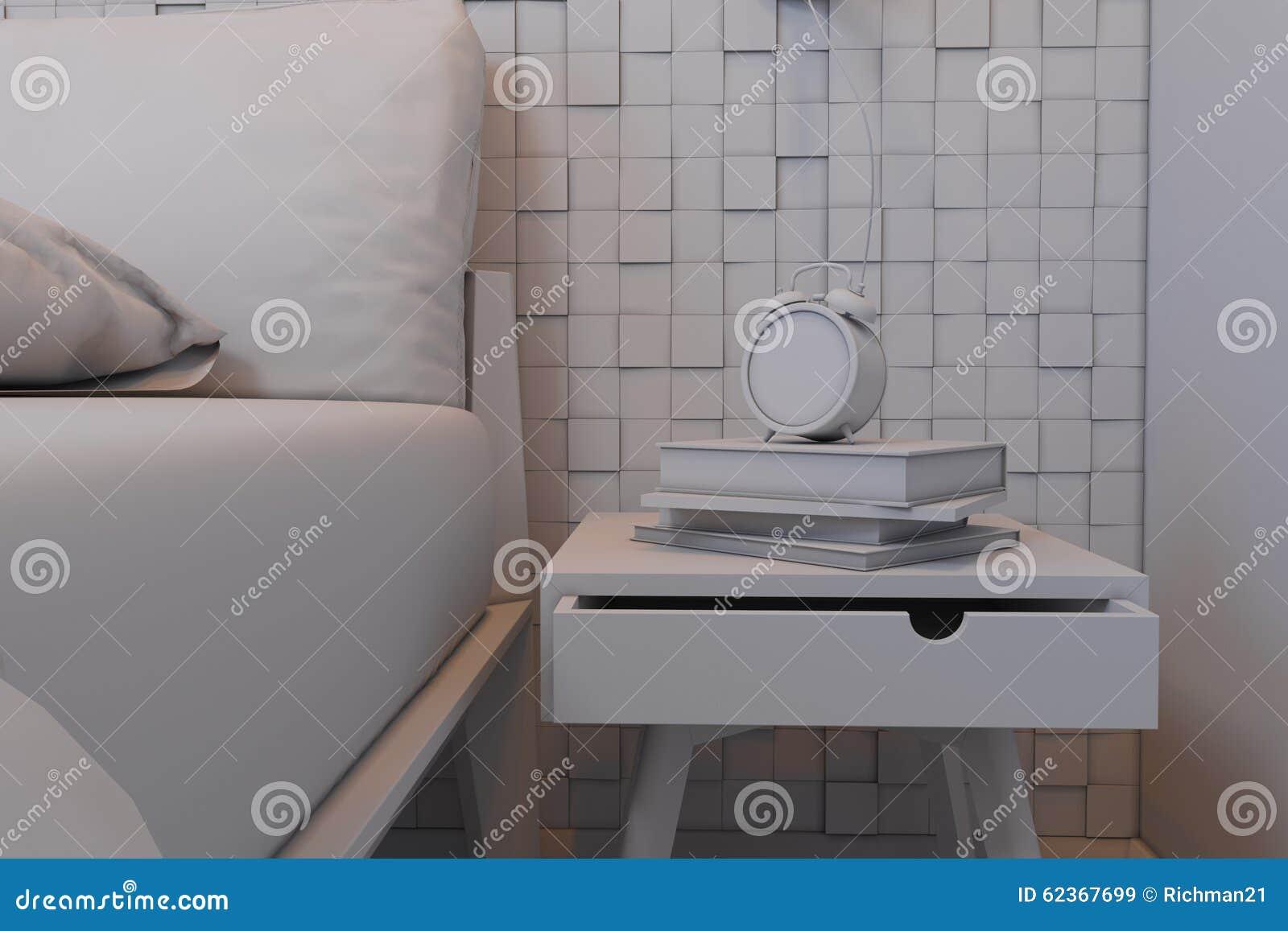 Illustration 3d des chambres à coucher dans un style scandinave ...