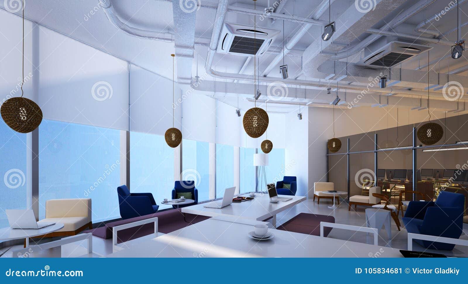 Illustration 3D Die Innenarchitektur Des Modernen Büros Stock ...