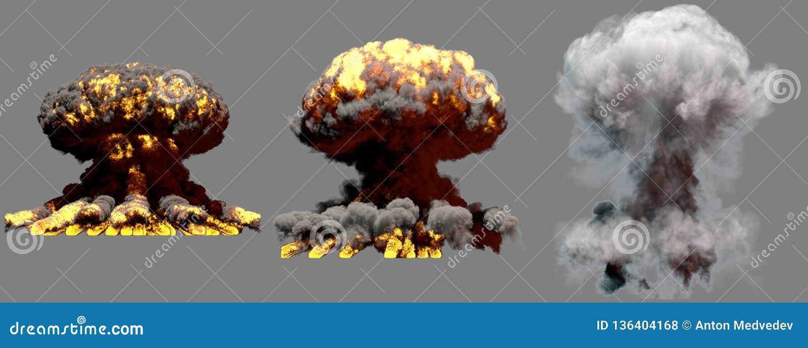 Illustration 3D d explosion - explosion différente de champignon atomique du feu de 3 grande phases de bombe superbe avec de la f