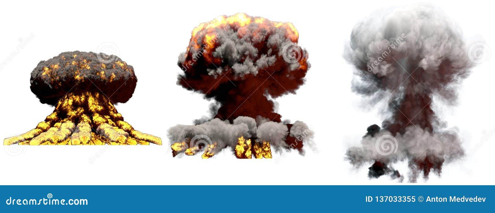 Illustration 3D d explosion - explosion différente de champignon atomique du feu de 3 grande phases de bombe thermonucléaire avec