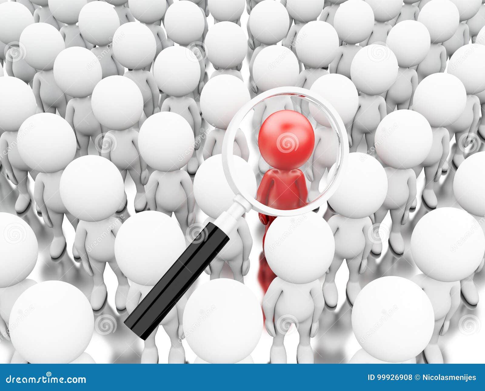 Illustration 3d Förstoringsglas som upp väljer en ny arbetare
