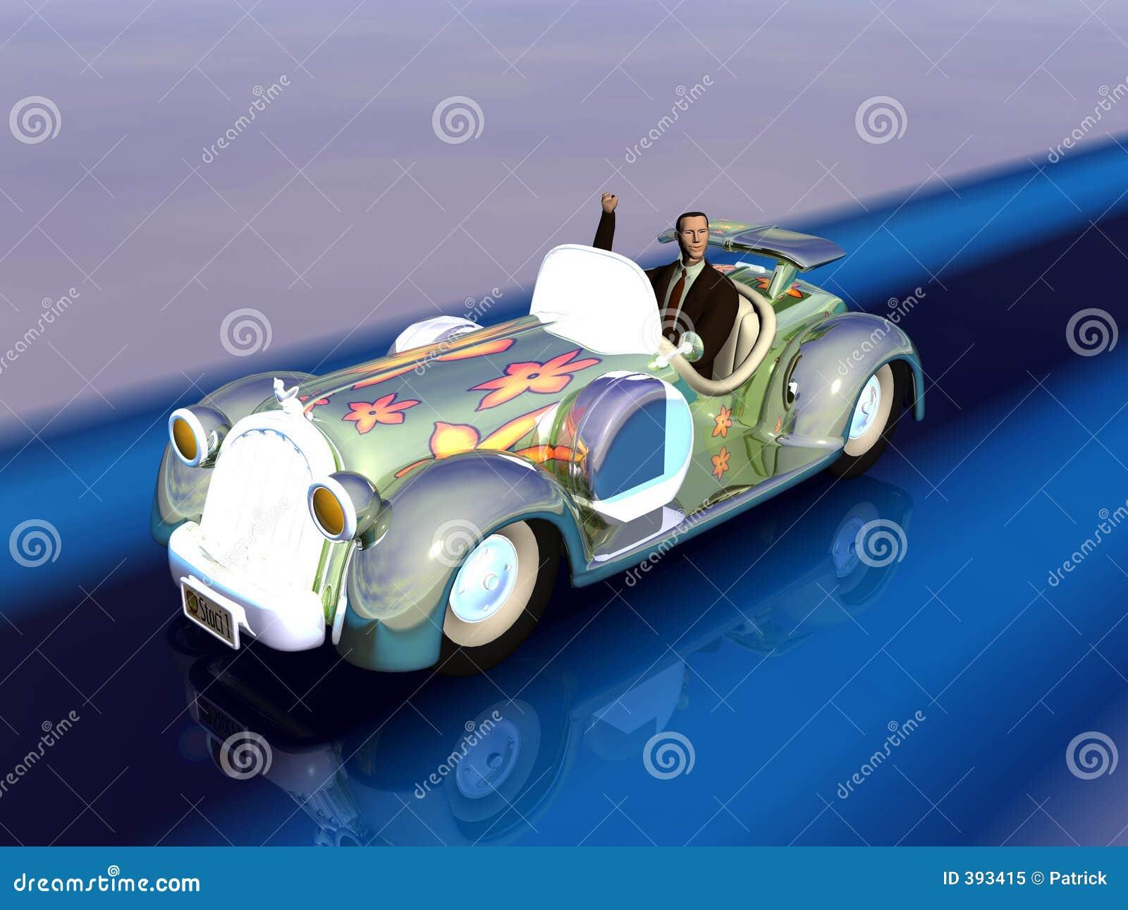Illustration d homme d affaires dans le véhicule.