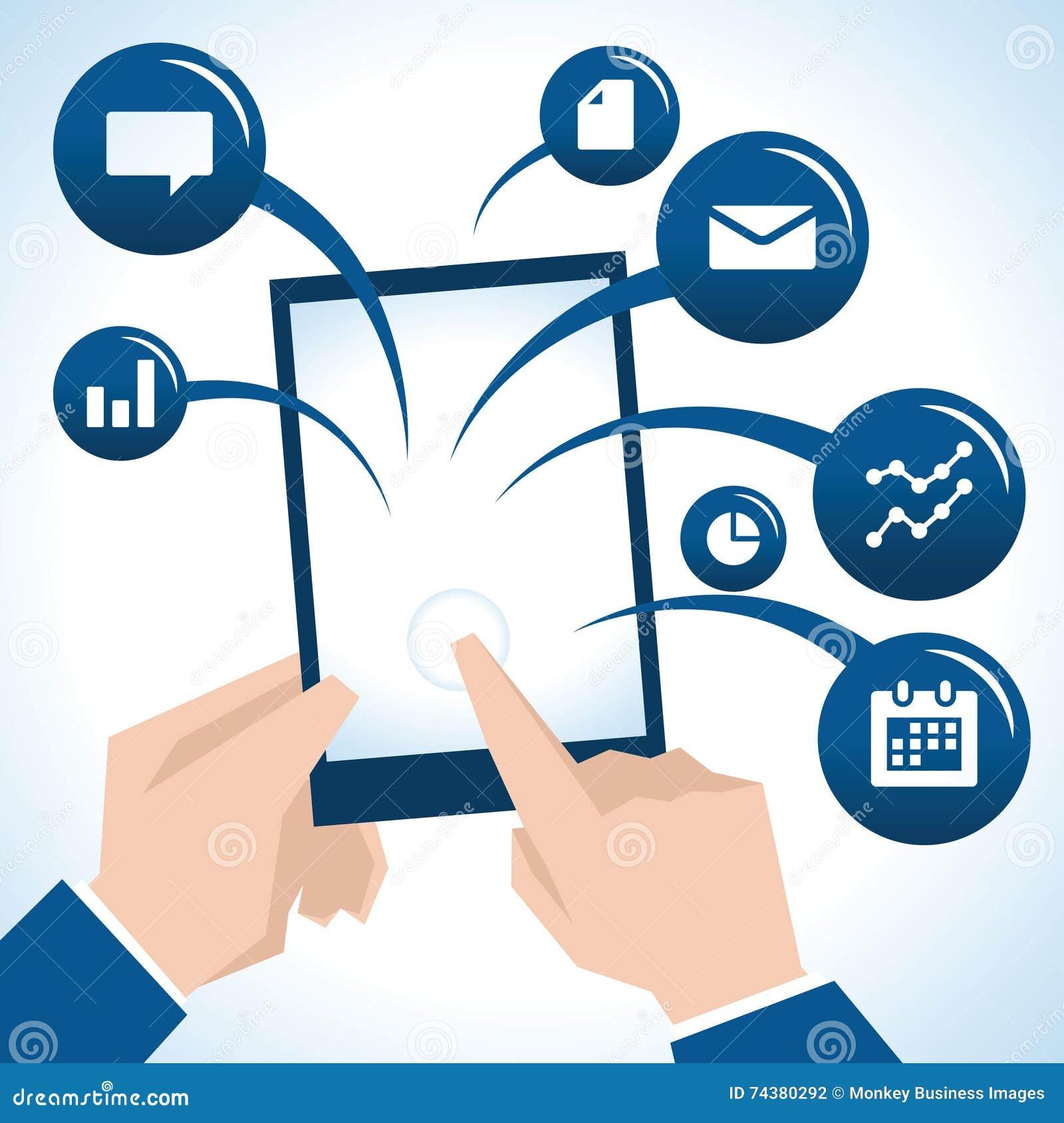 Illustration d homme d affaires With Digital Tablet et d icônes