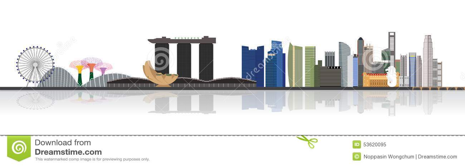 Illustration d horizon de ville de Singapour
