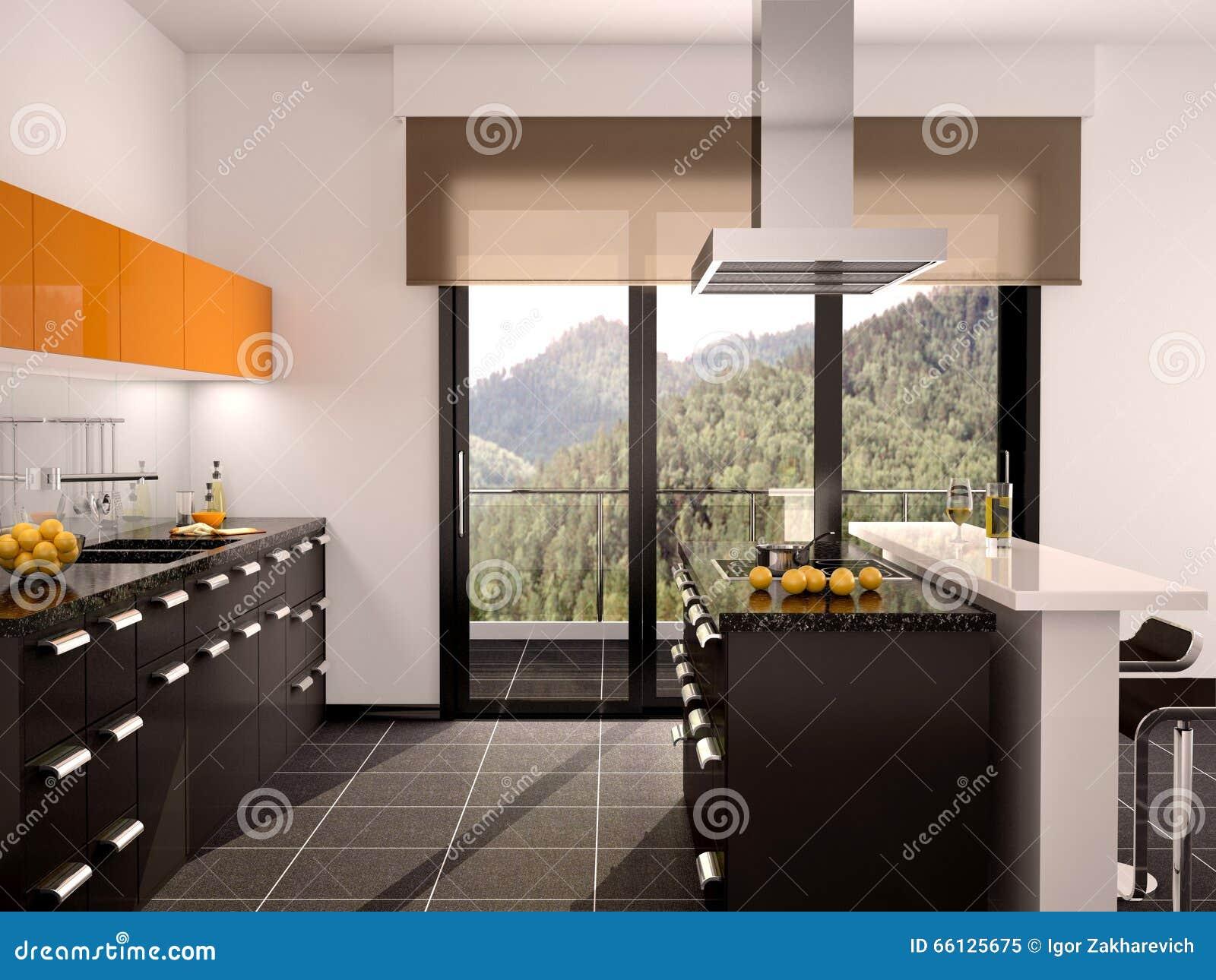 Illustration Dintérieur Noir Et Orange Moderne De Cuisine Avec Une