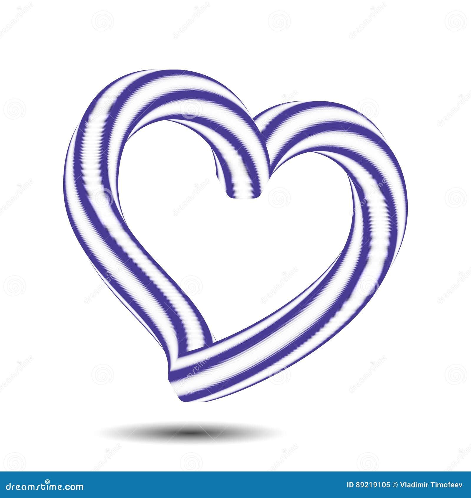 Illustration 3d Isometric Love Symbol Blue Color Heart Icon