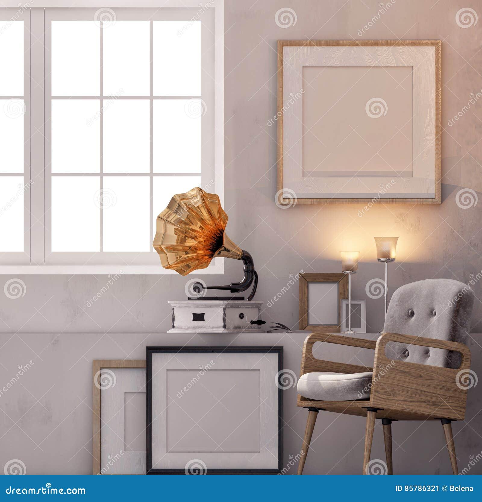 Illustration 3d, Lüpfen Innenraum Mit Bank, Rahmen Und Grammophon ...