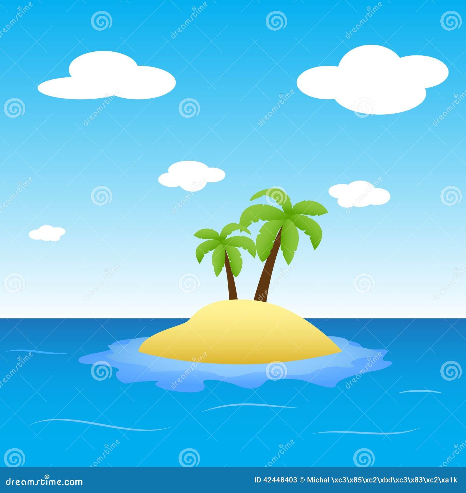 illustration d u0026 39  u00eele au milieu d u0026 39 oc u00e9an avec deux palmiers illustration de vecteur