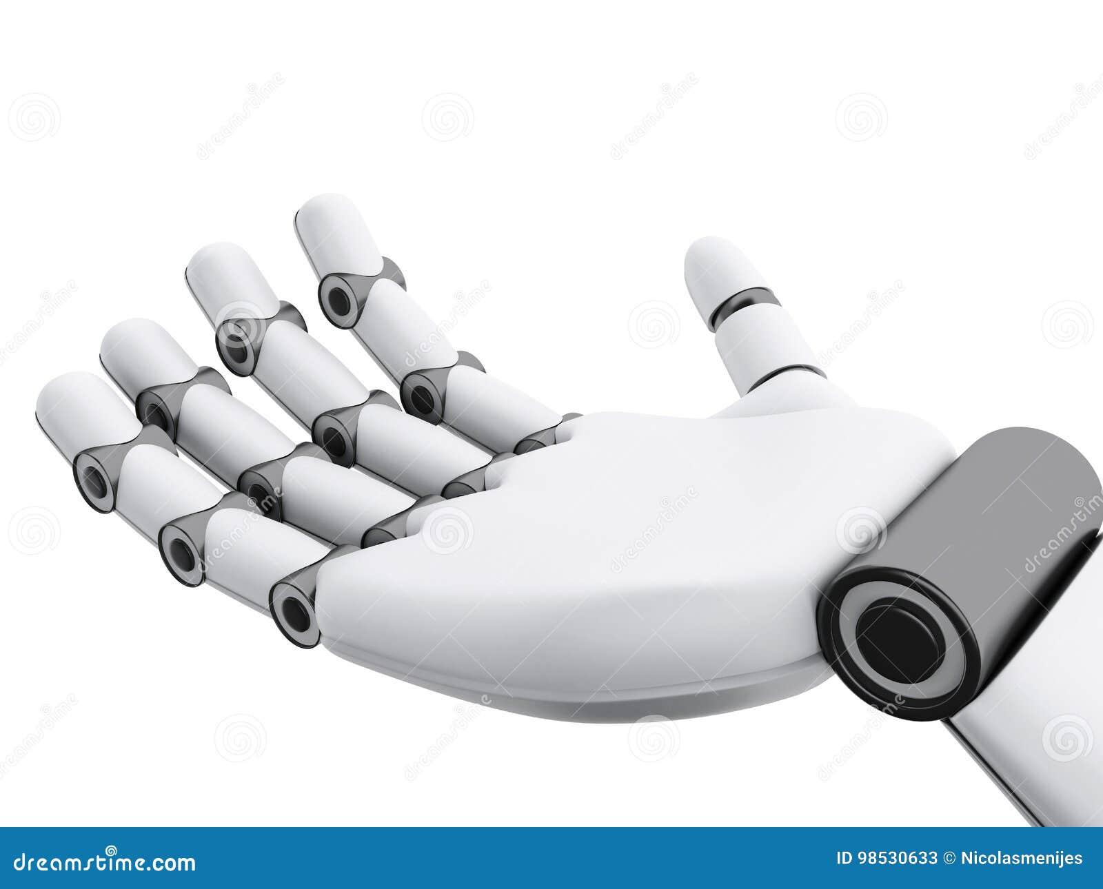 Illustration 3d Robotic handvisning något