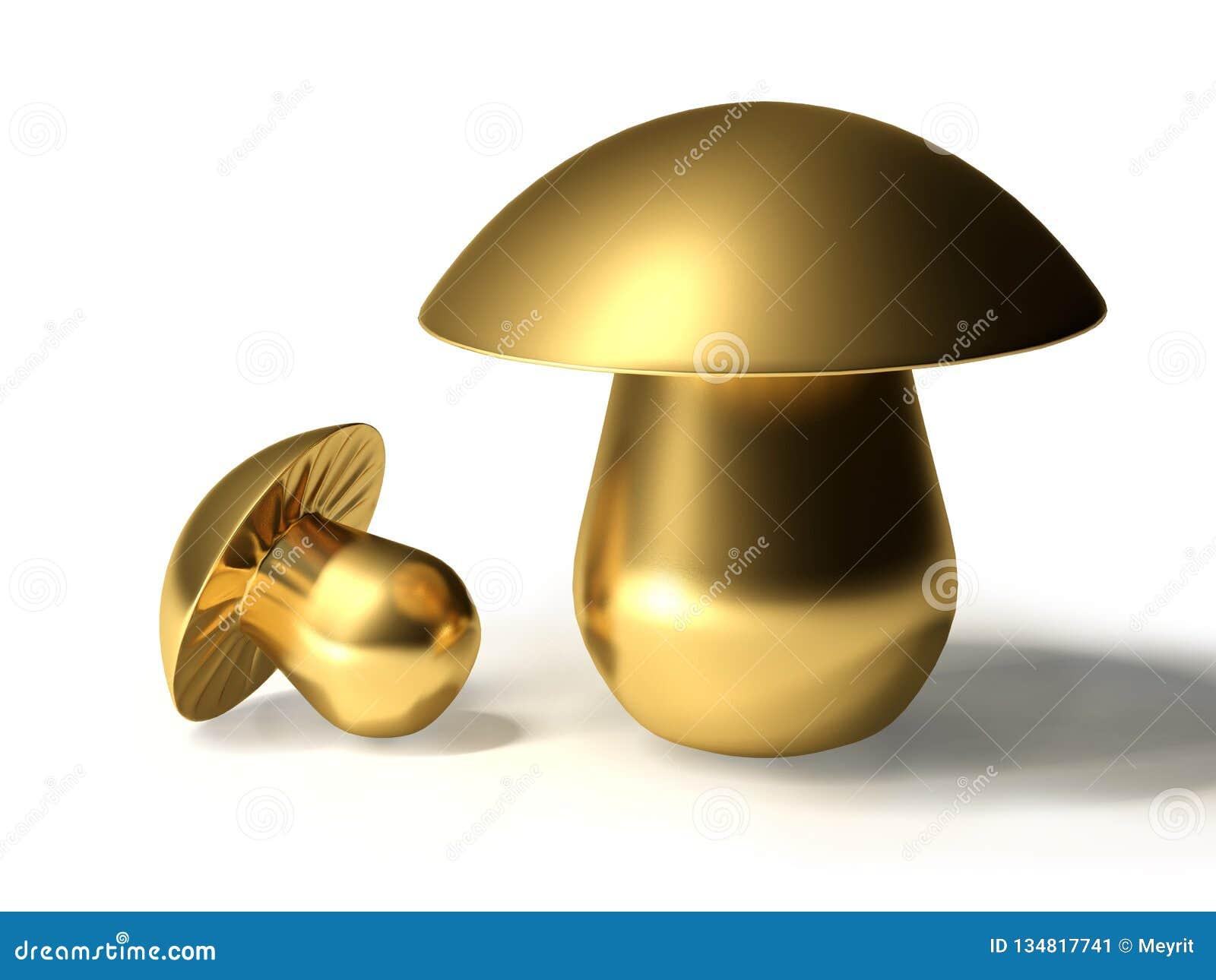 Illustration 3d Två guld- champinjoner för metall