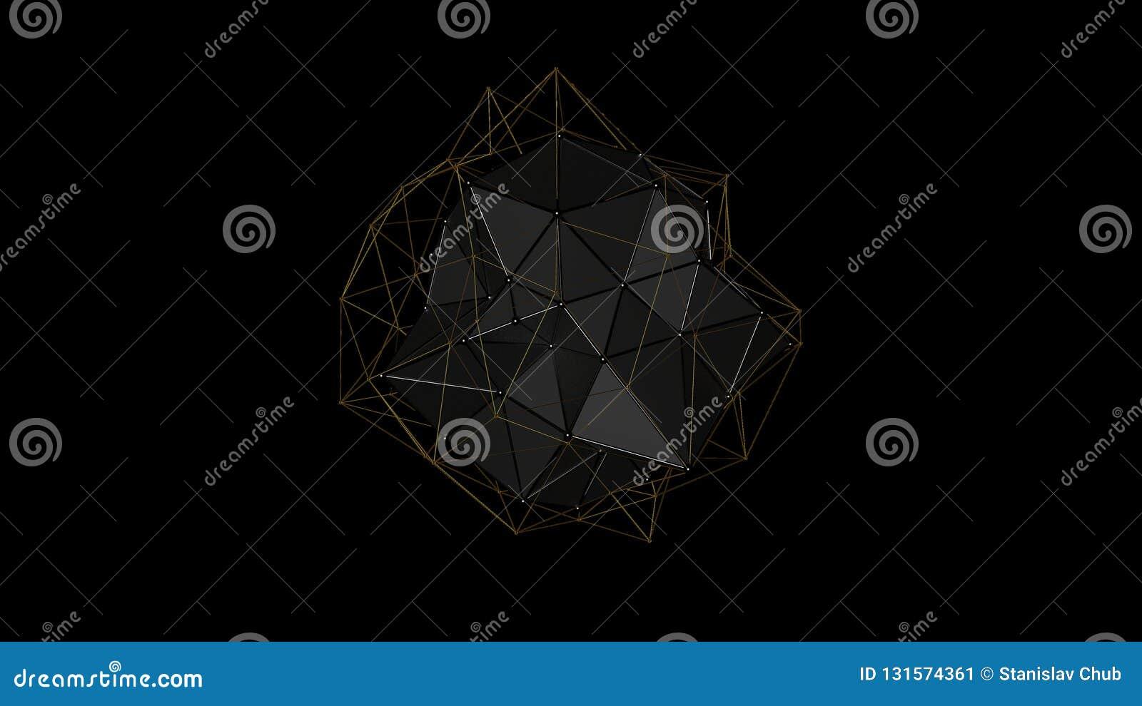 Illustration 3D d un cristal en métal de la forme irrégulière, basse figure abstraite polygonale, sur un fond noir Conception fut