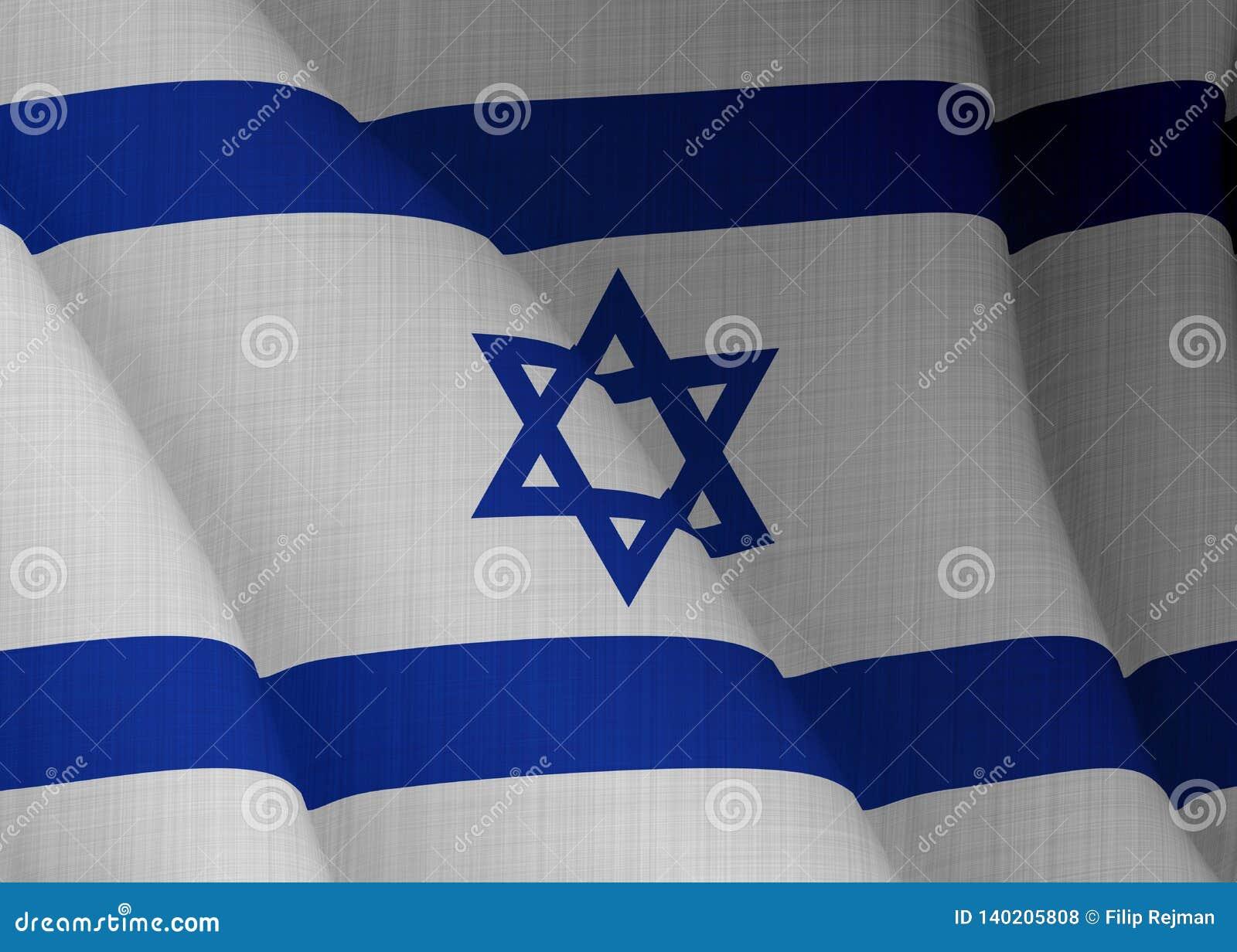 Illustration d un drapeau israélien volant éclairé de la gauche
