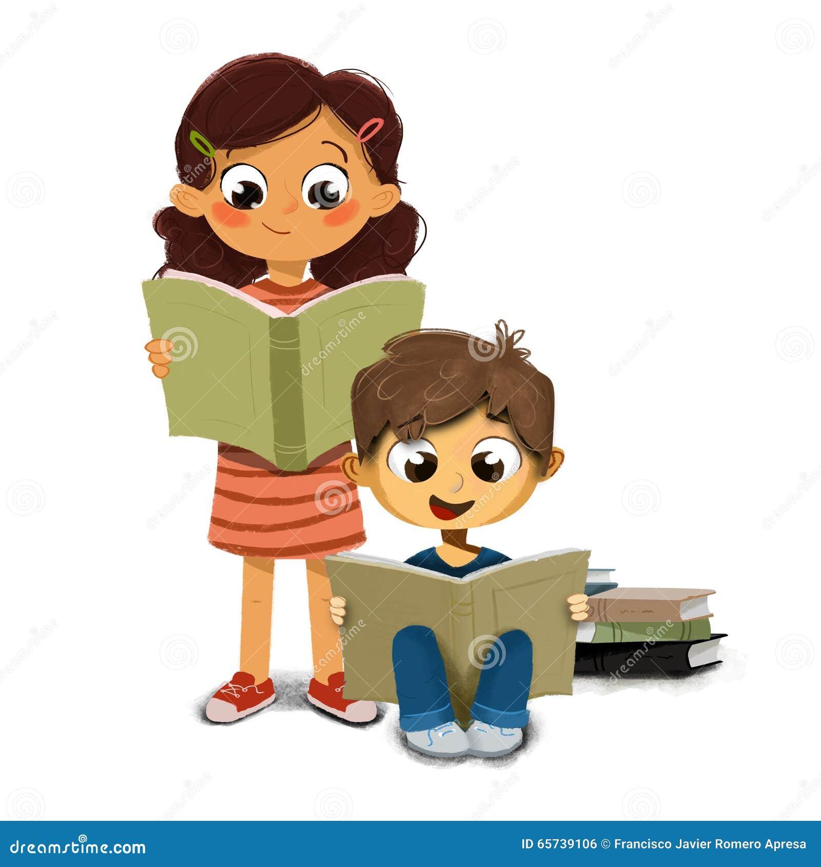 Illustration d un garçon et d une fille lisant un livre