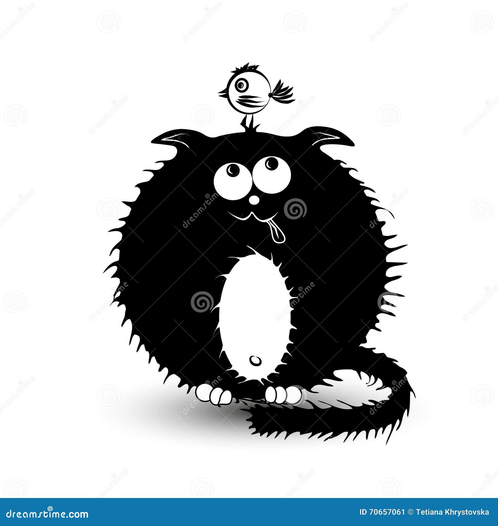 Illustration d un gros chat noir et de l oiseau