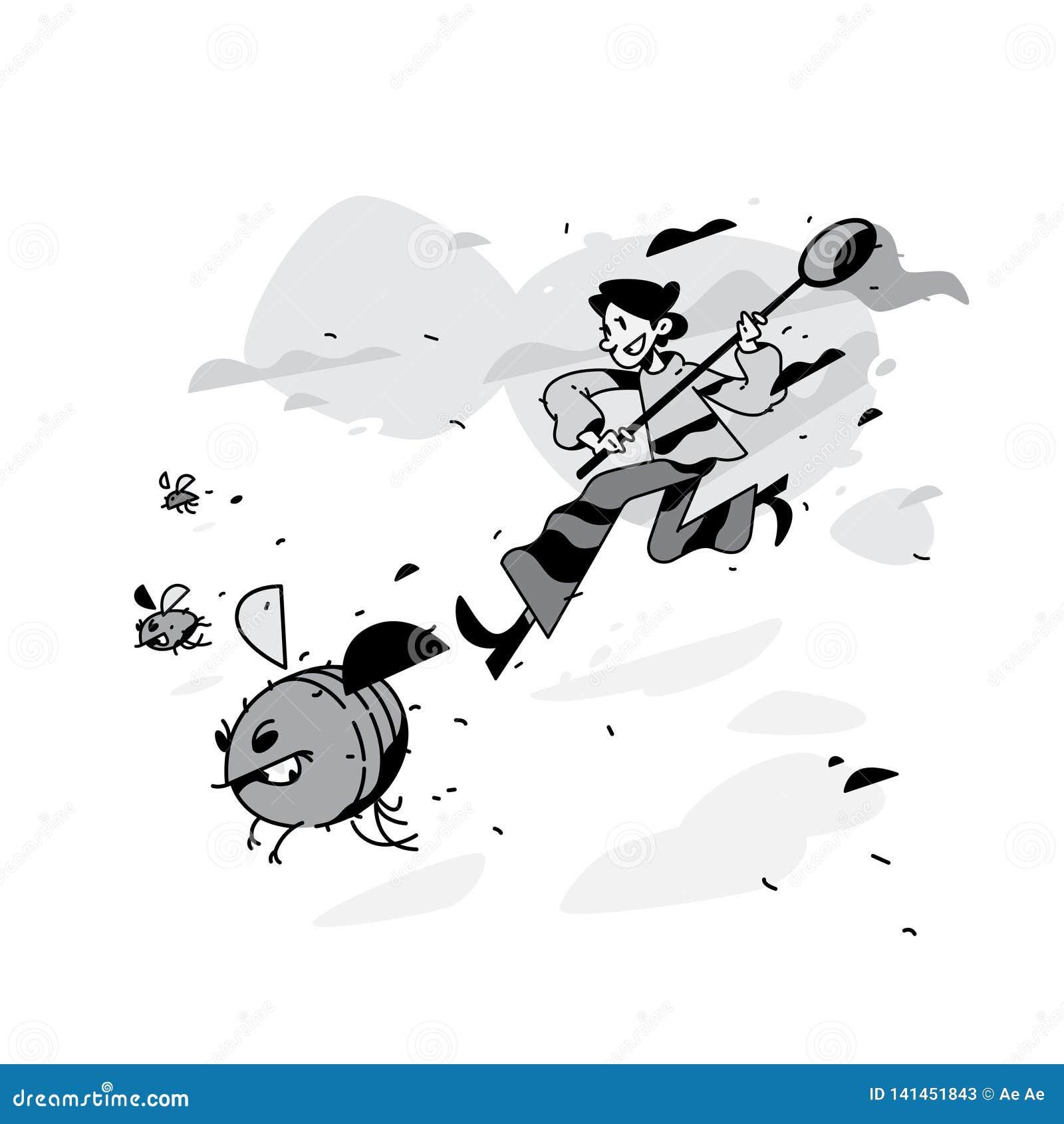 Illustration d un homme courant avec des mouches et des scarabées Illustration de vecteur L appareil de contrôle décèle des insec