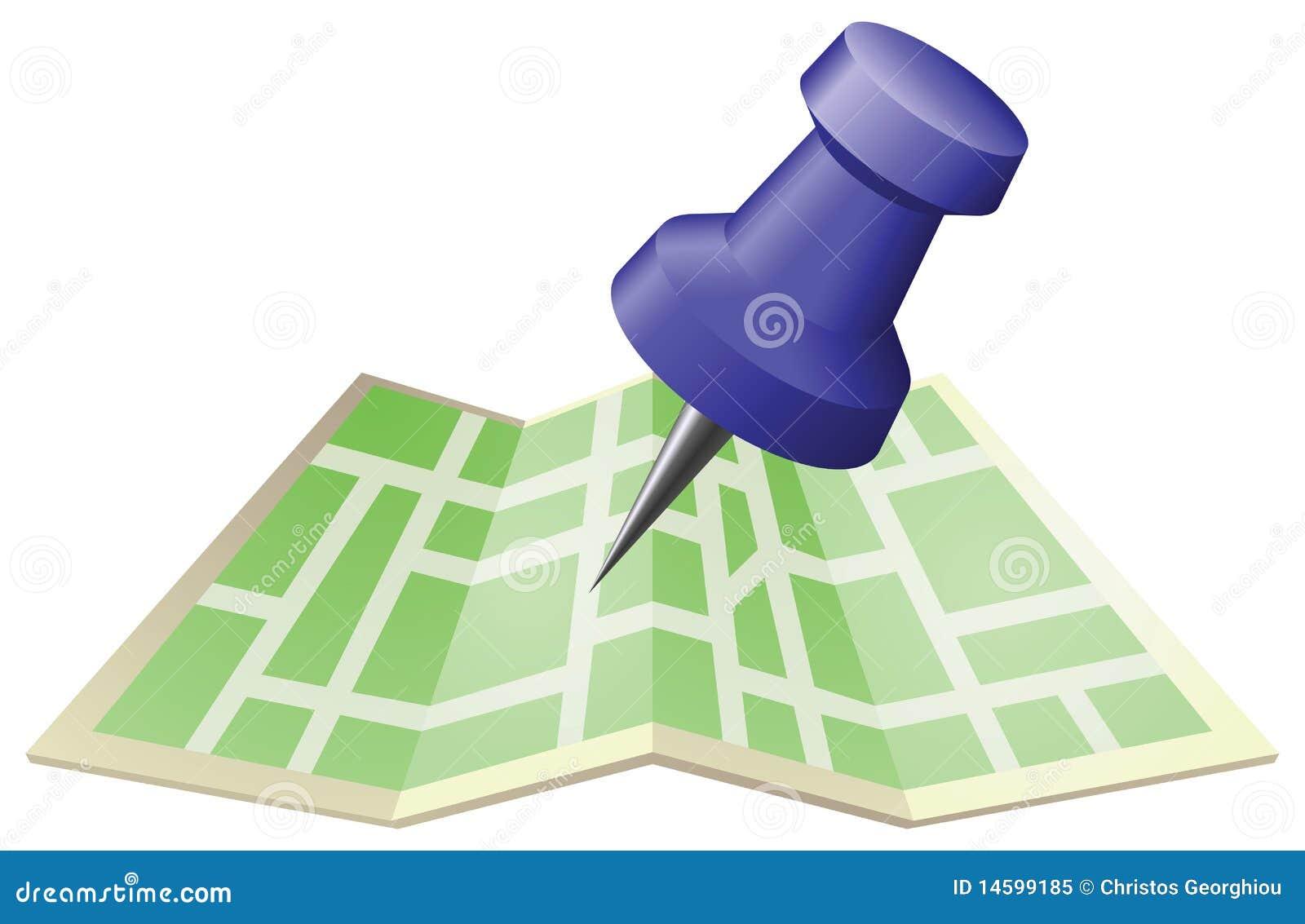 Illustration d un plan de ville avec la broche de poussée de retrait