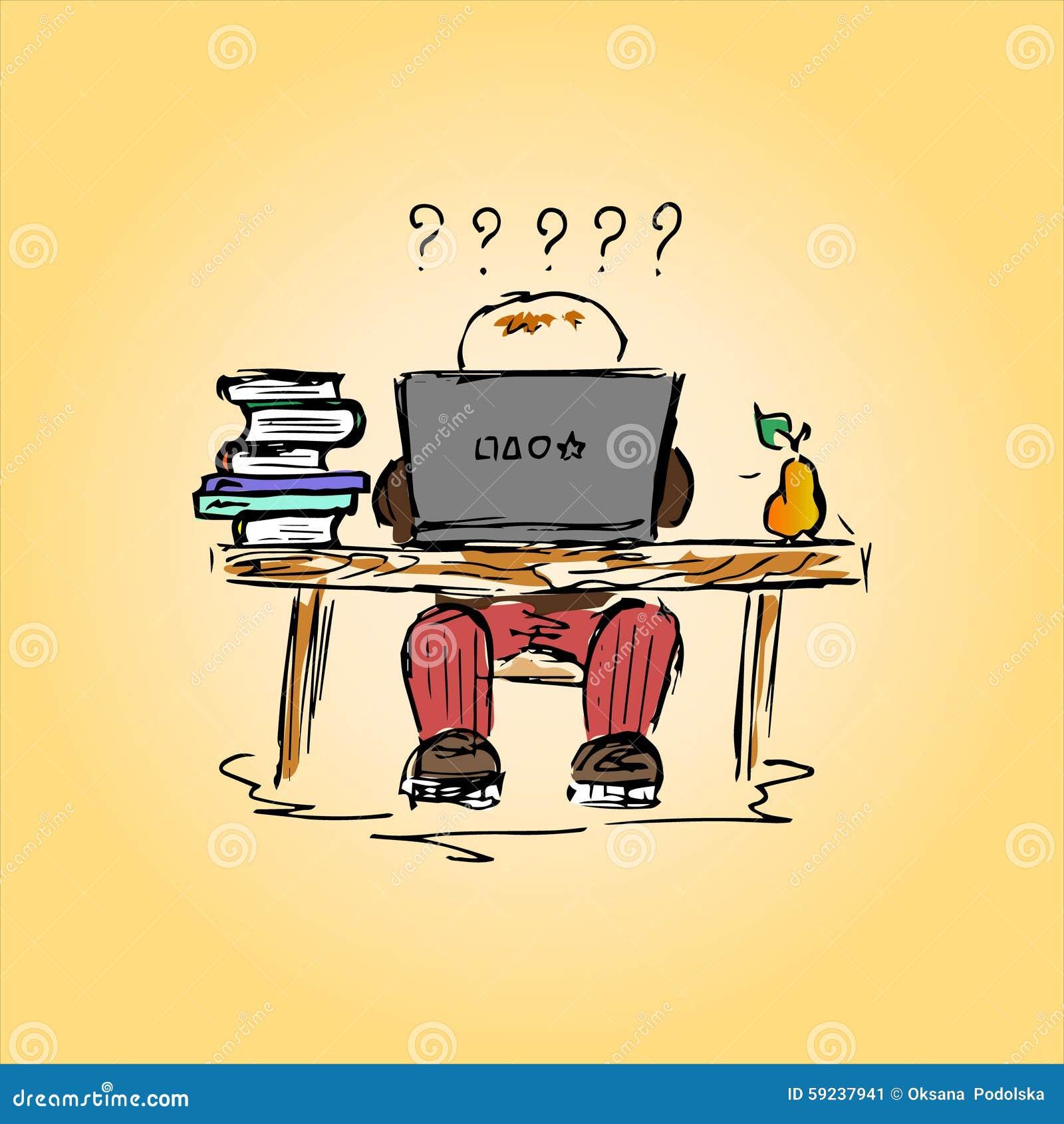 illustration d 39 un tudiant dans un bureau au travail main dessin illustration de vecteur. Black Bedroom Furniture Sets. Home Design Ideas