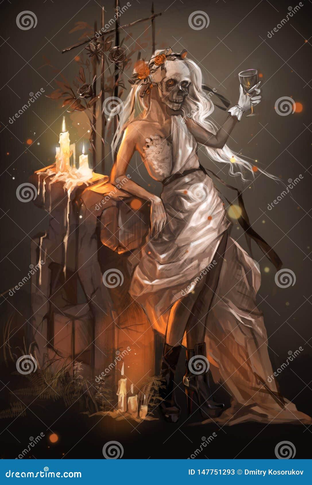 Illustration d une fille dans la robe d une jeune mariée à la tombe