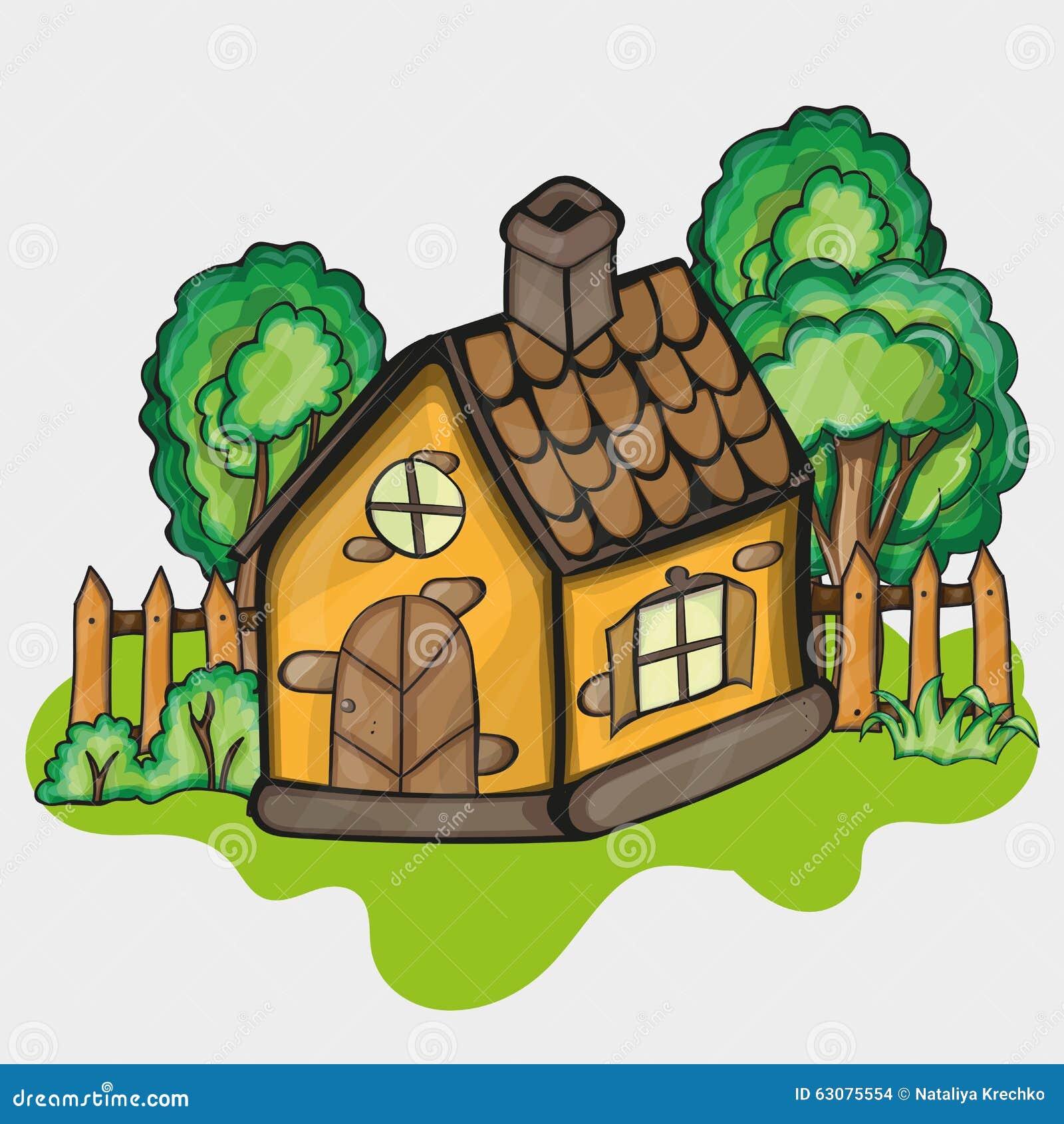Download Illustration D'une Maison De Bande Dessinée Illustration de Vecteur - Illustration du privé, herbe: 63075554