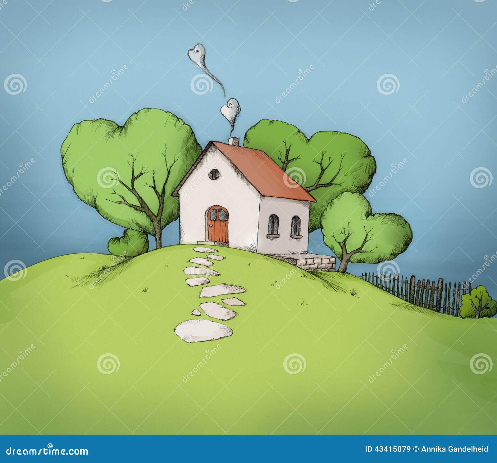 Illustration d 39 une maison sur une colline illustration for Maison sur colline