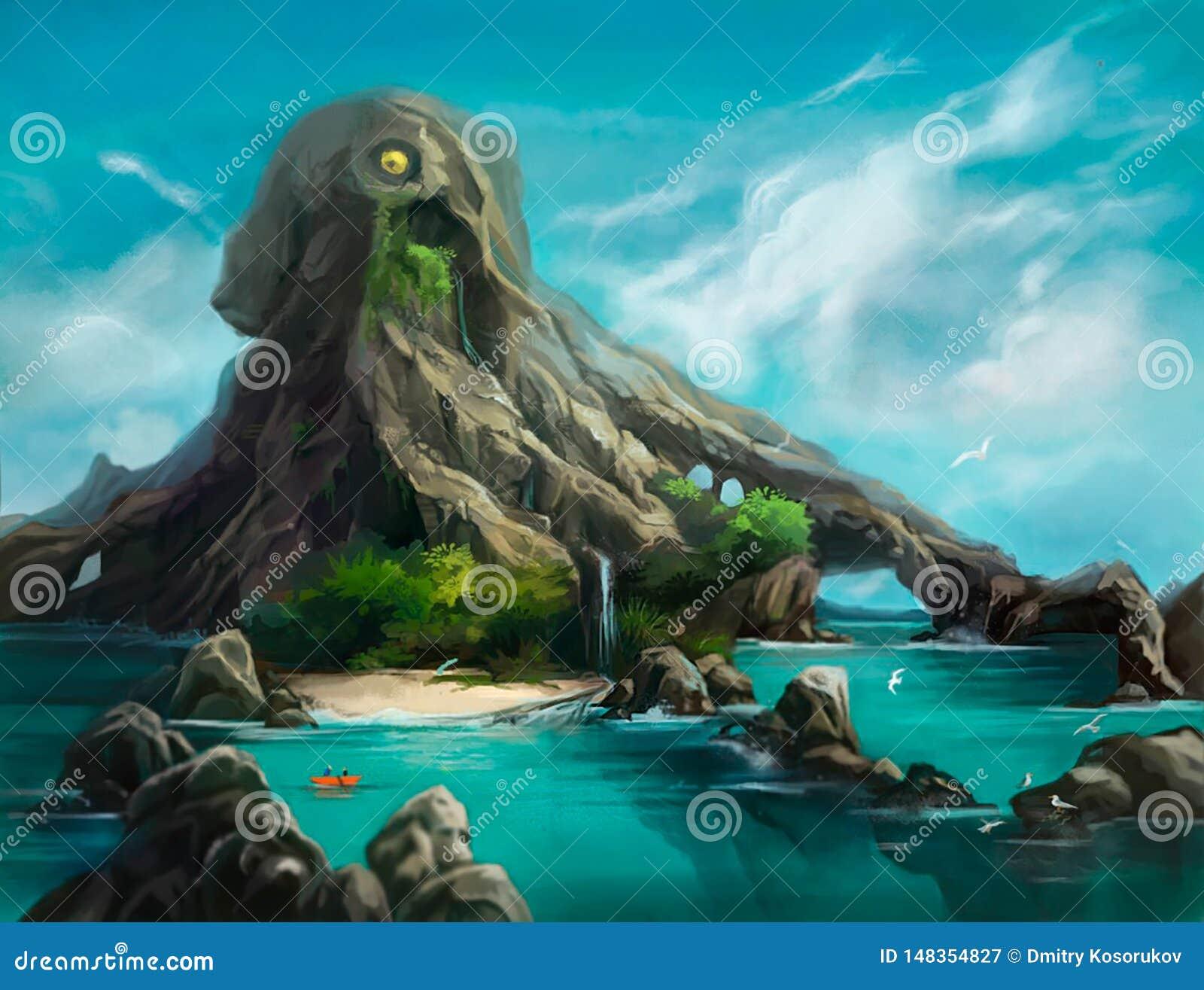 Illustration d une montagne sous forme de poulpe