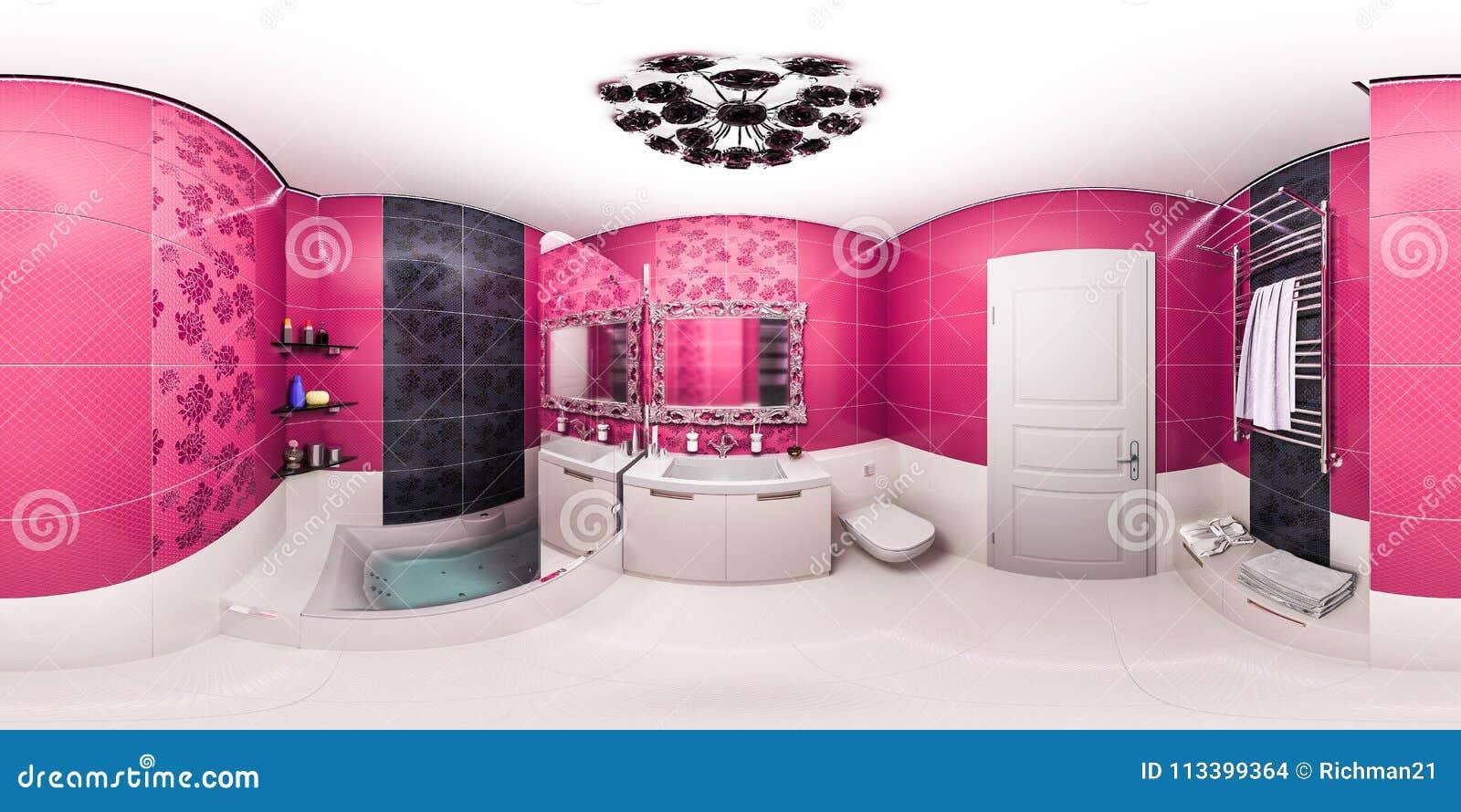 Illustration 3d D\'une Salle De Bains Lumineuse Dans Un ...