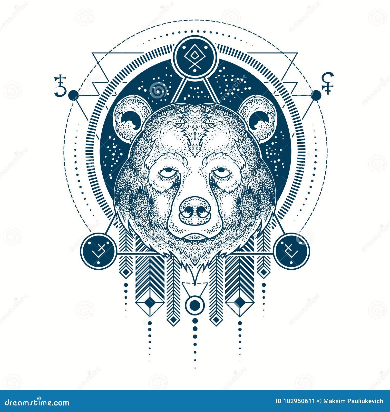 Illustration D Une Vue De Face De Tatouage Geometrique D Une Tete De