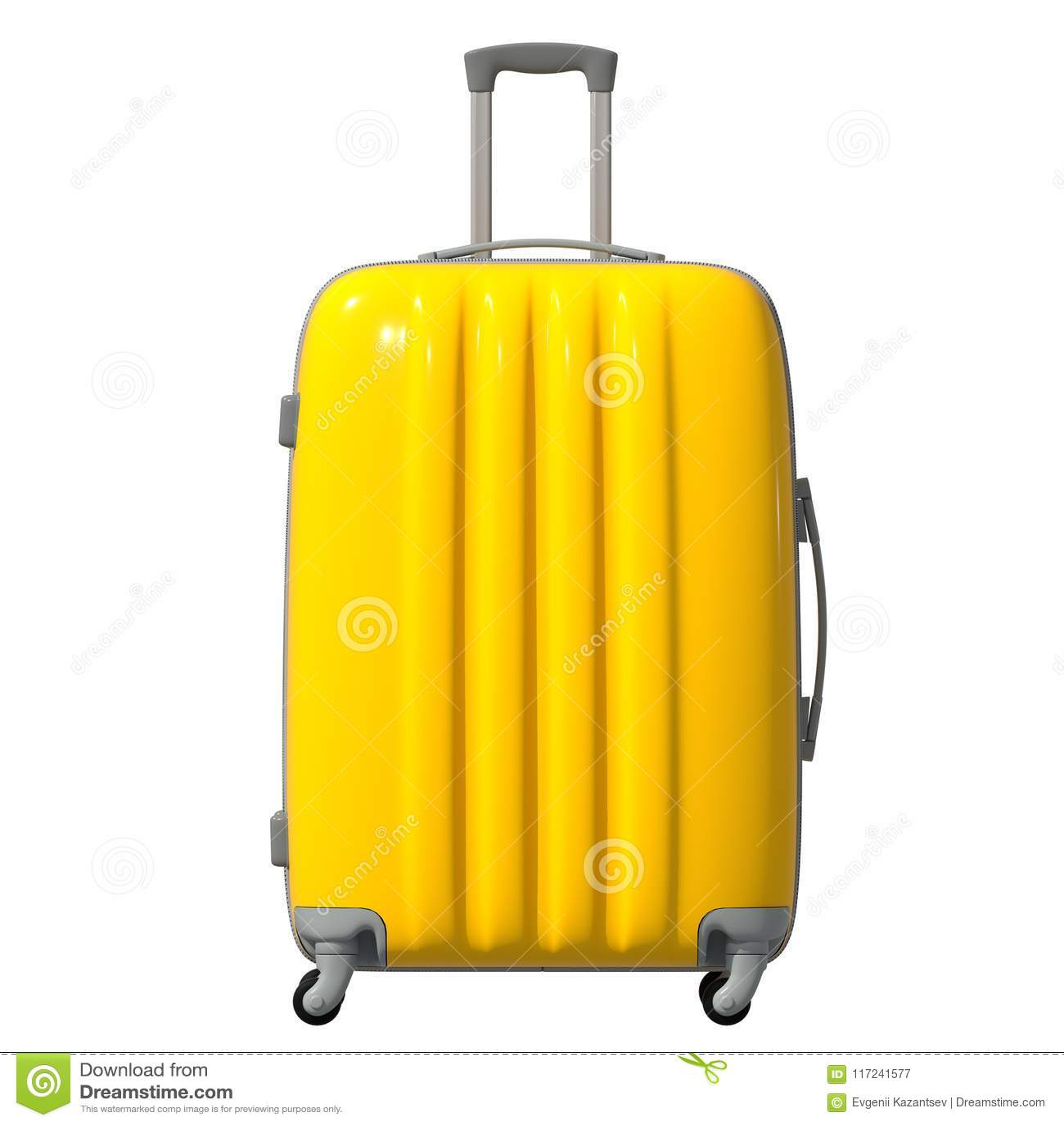 Illustration 3d Vägen korrugerade plast- resväskan är gul facade isolerat