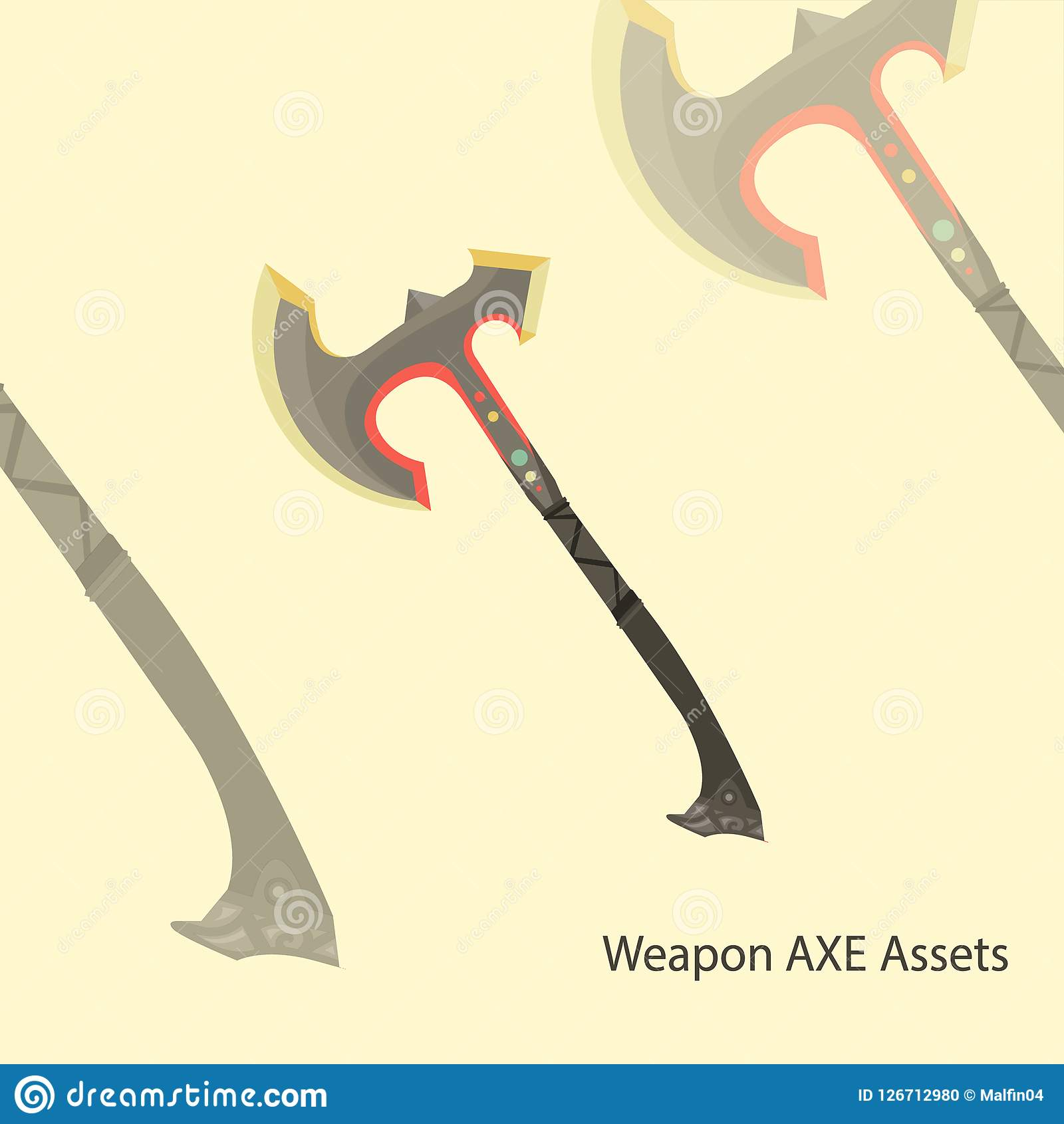 Illustration 2D Vector Axe Weapon For Action Adventure Game
